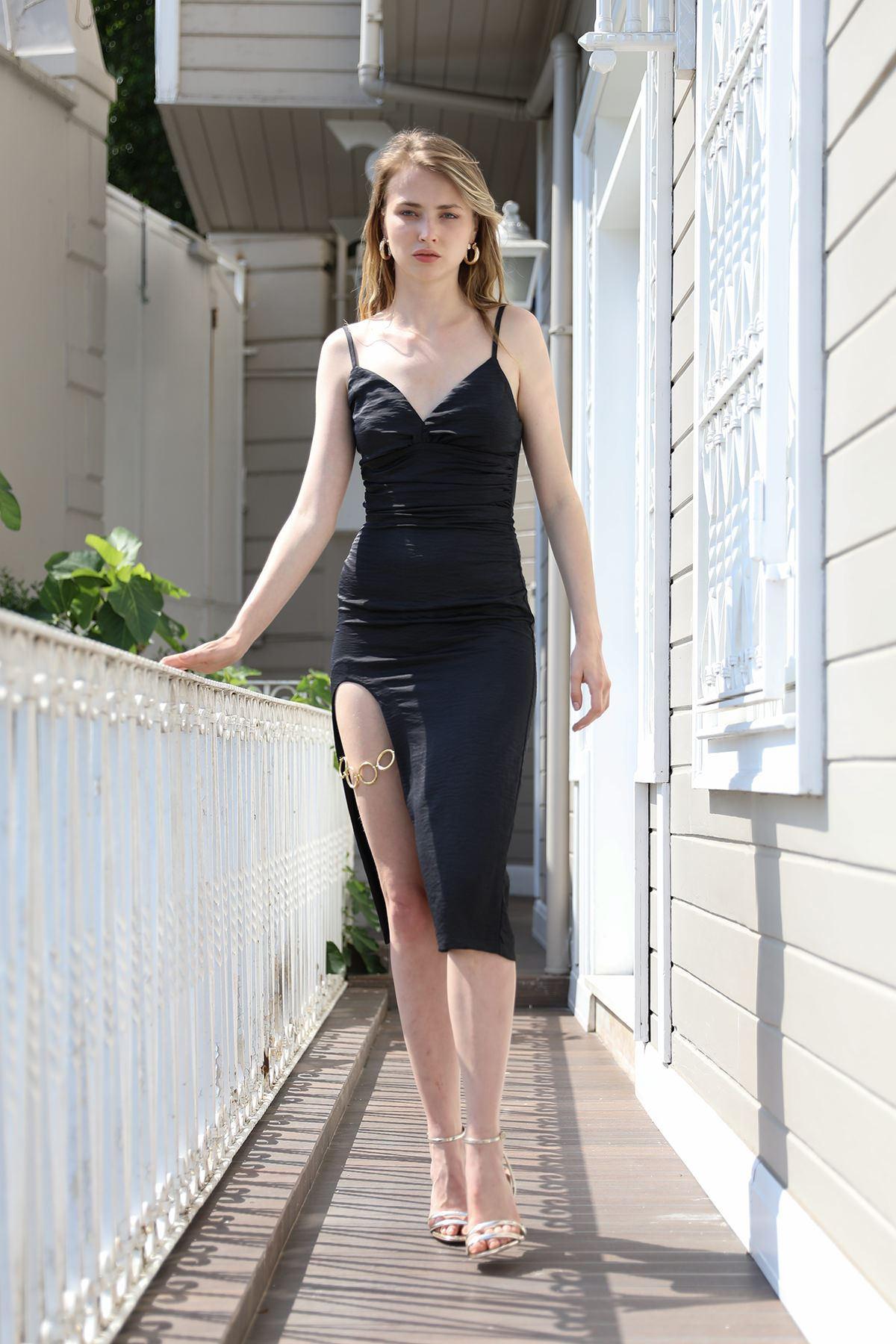 Yırtmaçlı Elbise-Siyah