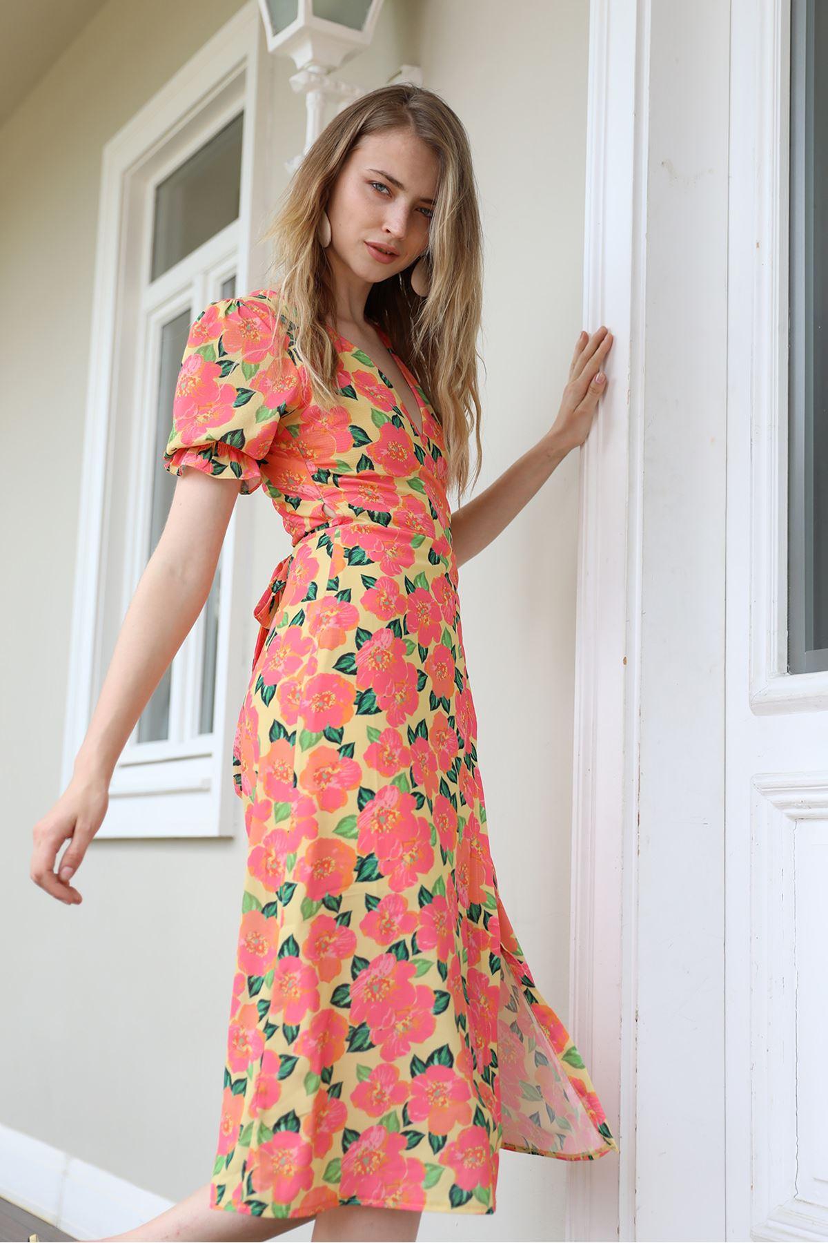 Çiçek Desen Elbise-Sarı
