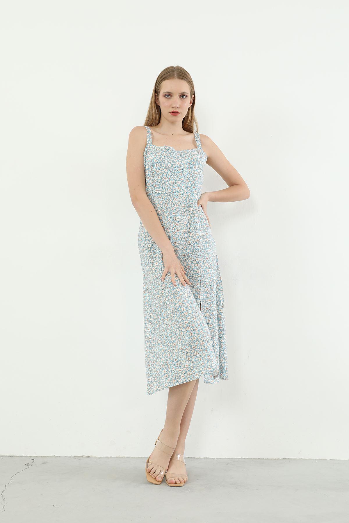 Çiçek Desen Askılı Elbise-Mavi