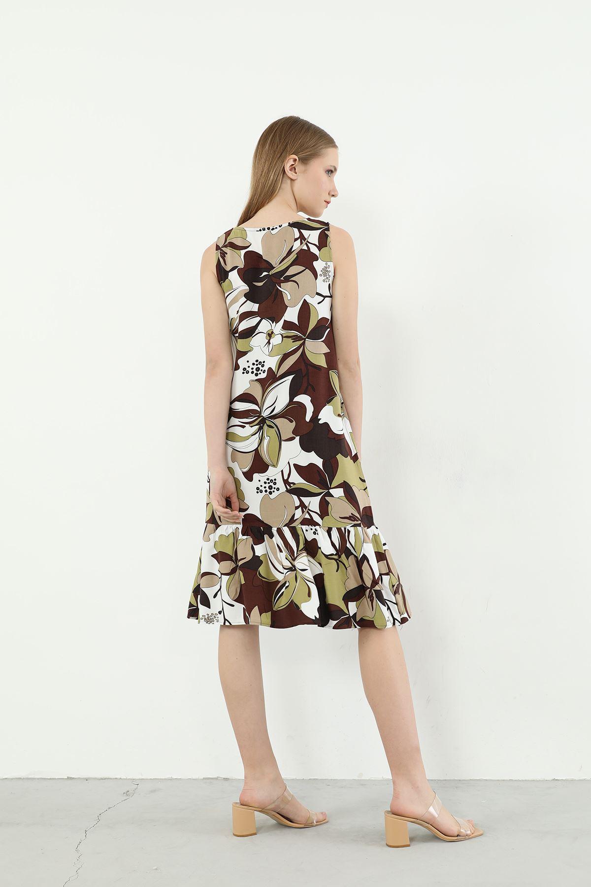 Çiçek Desen Askılı Elbise-Haki