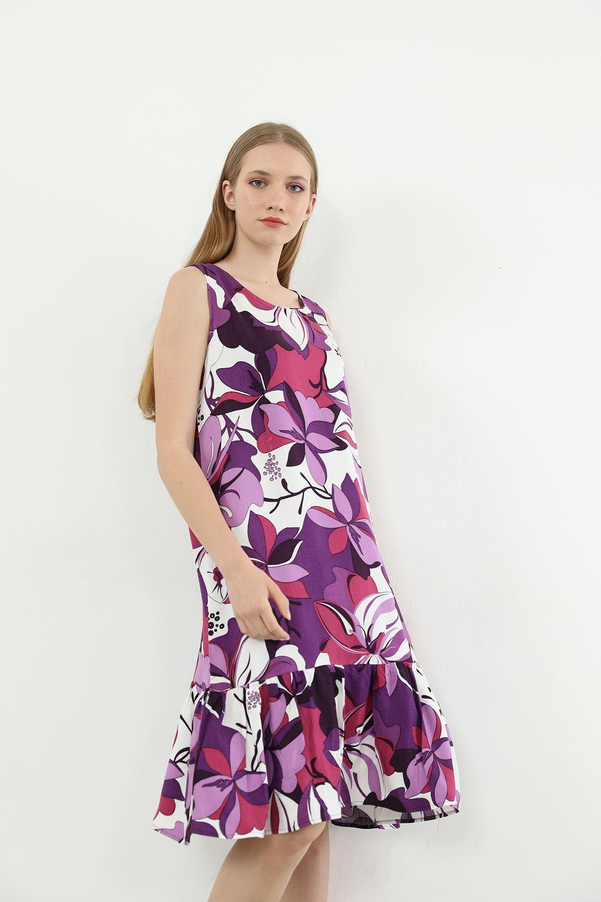 Çiçek Desen Askılı Elbise-Lila