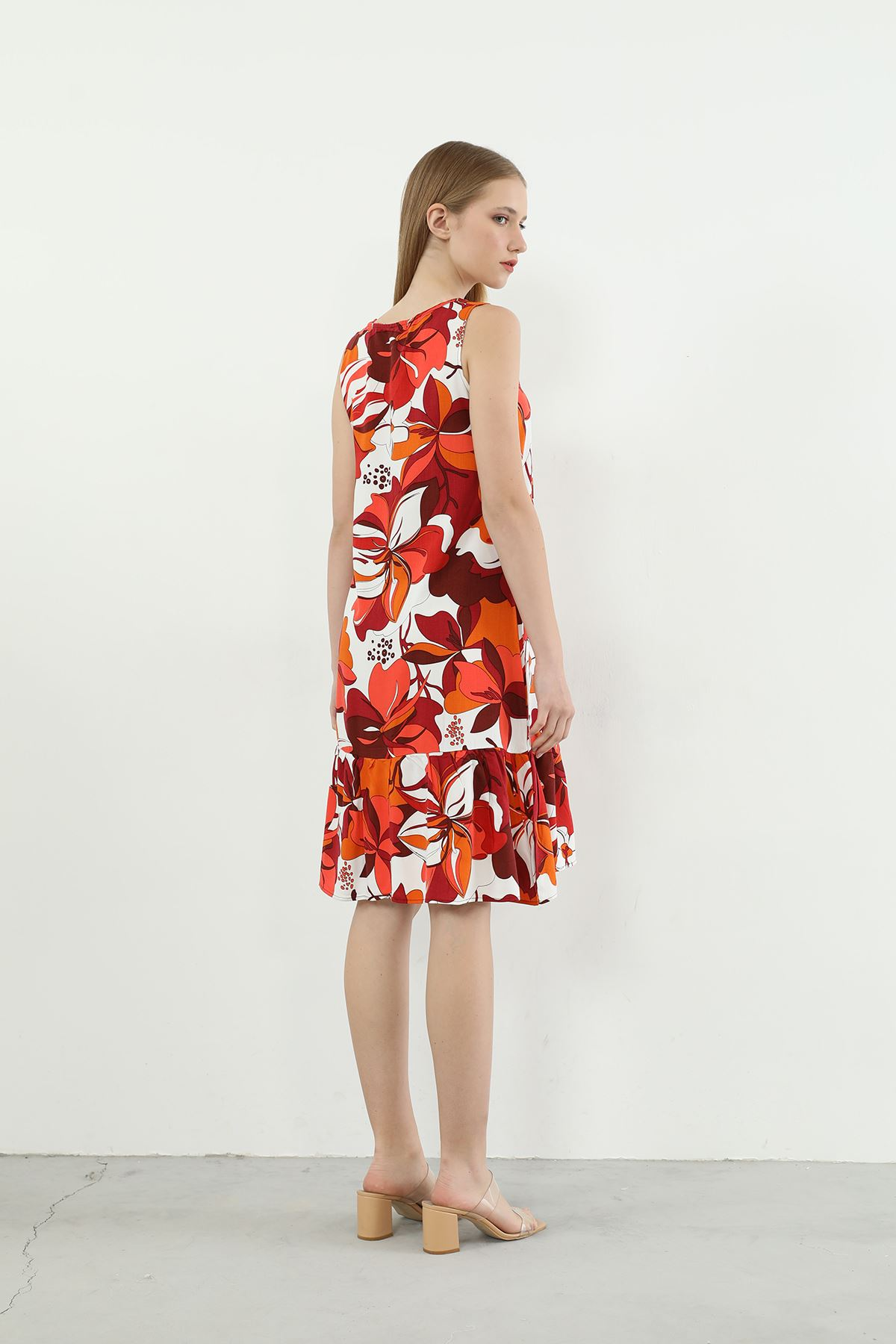 Çiçek Desen Askılı Elbise-Oranj