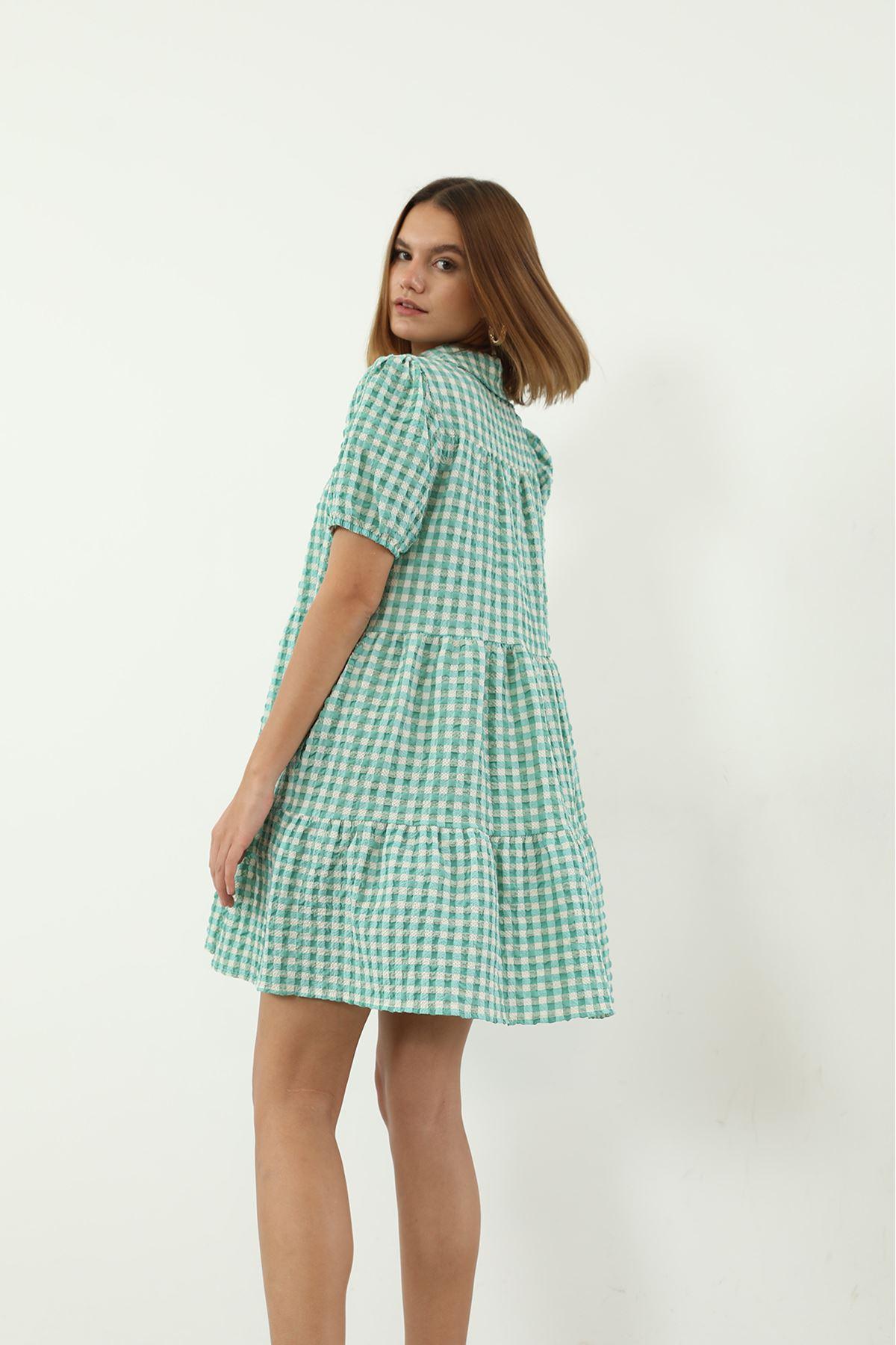 Ekose Desen Elbise-Yeşil