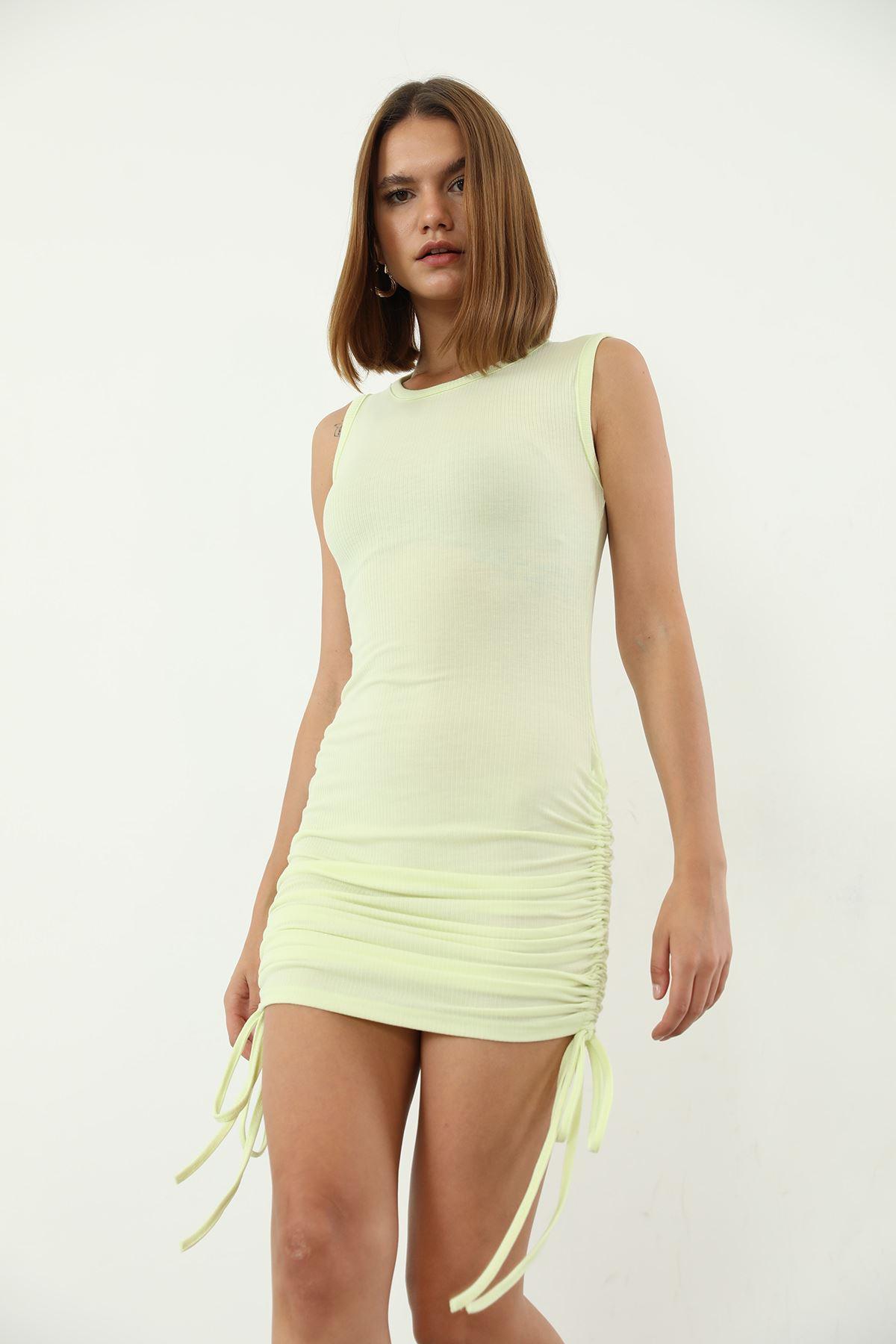 Büzgülü Kaşkorse Elbise-Sarı