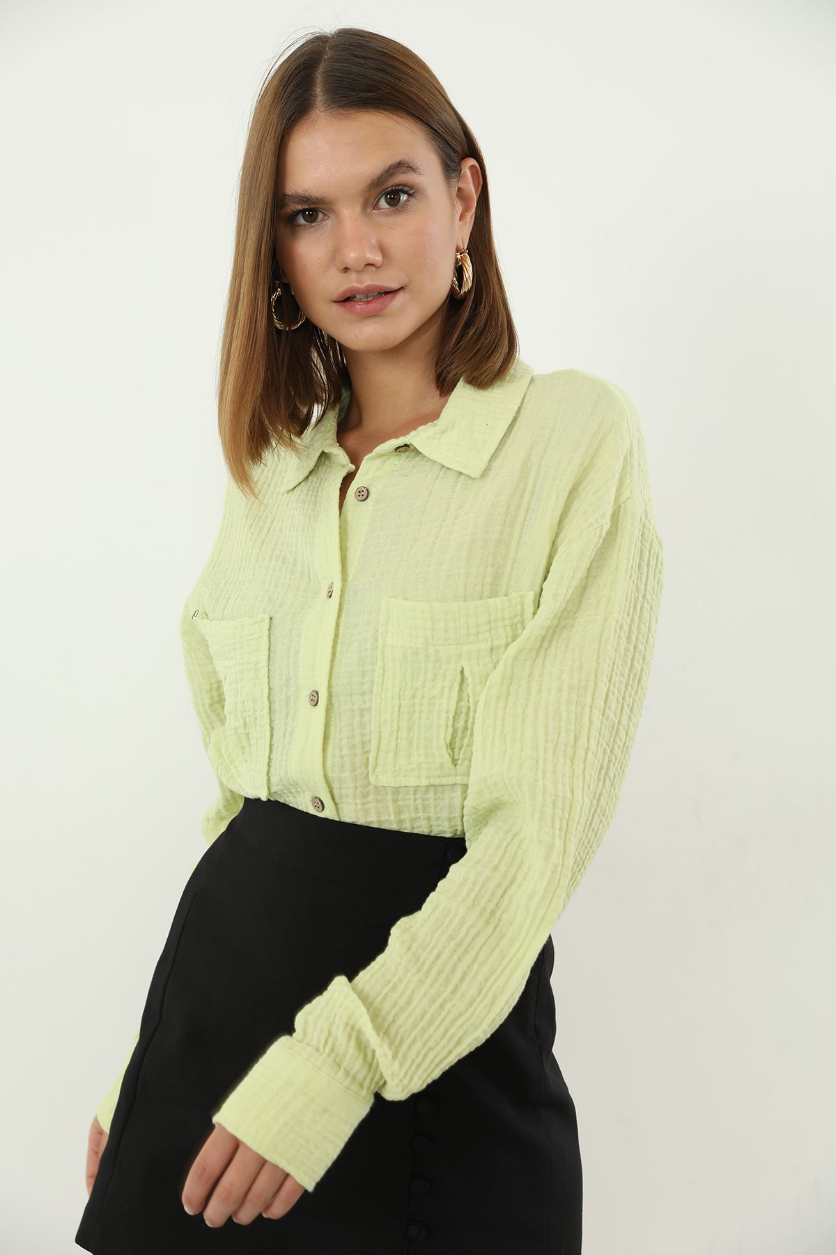 Cepli Basıc Gömlek-Sarı