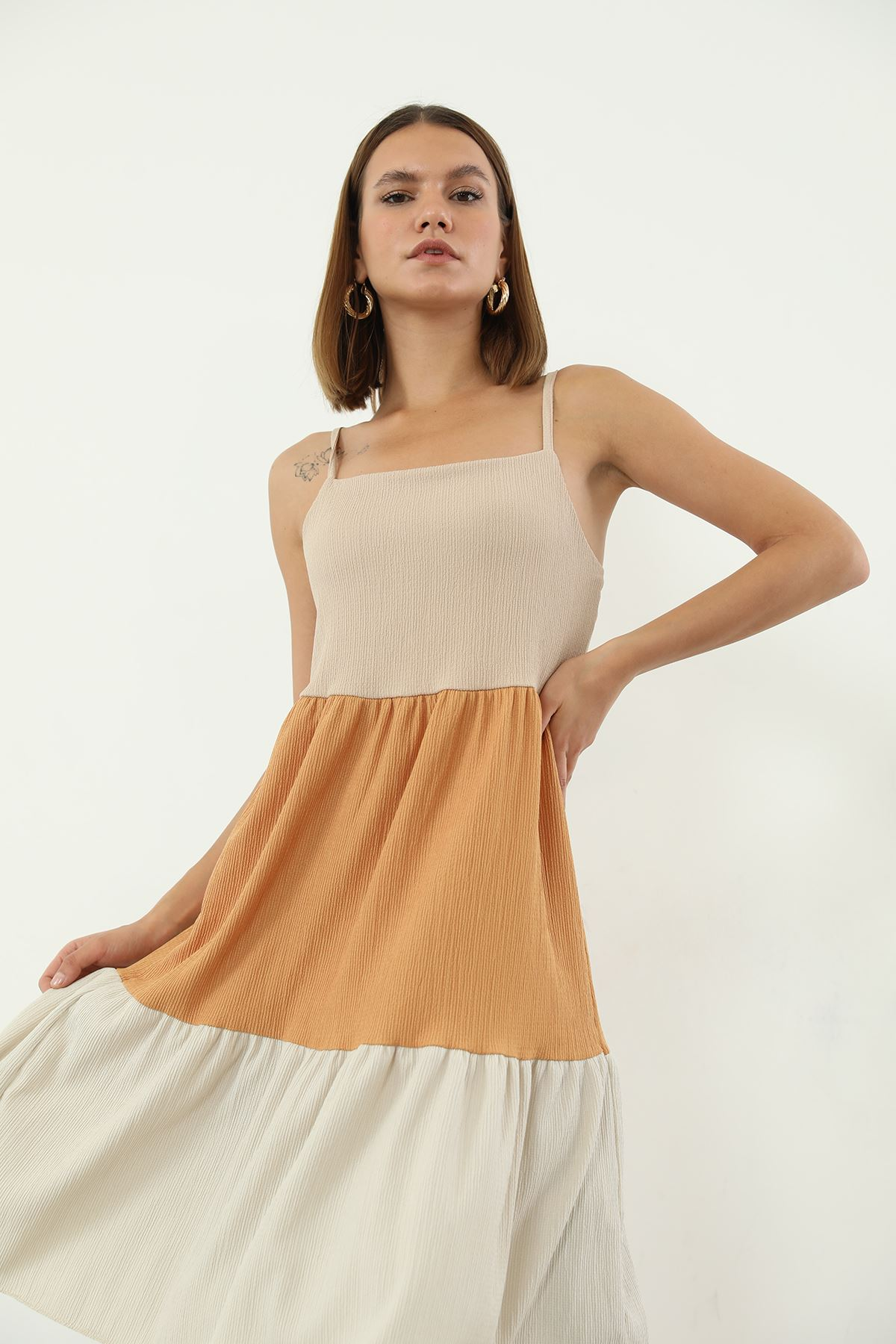 Askılı Elbise-Hardal