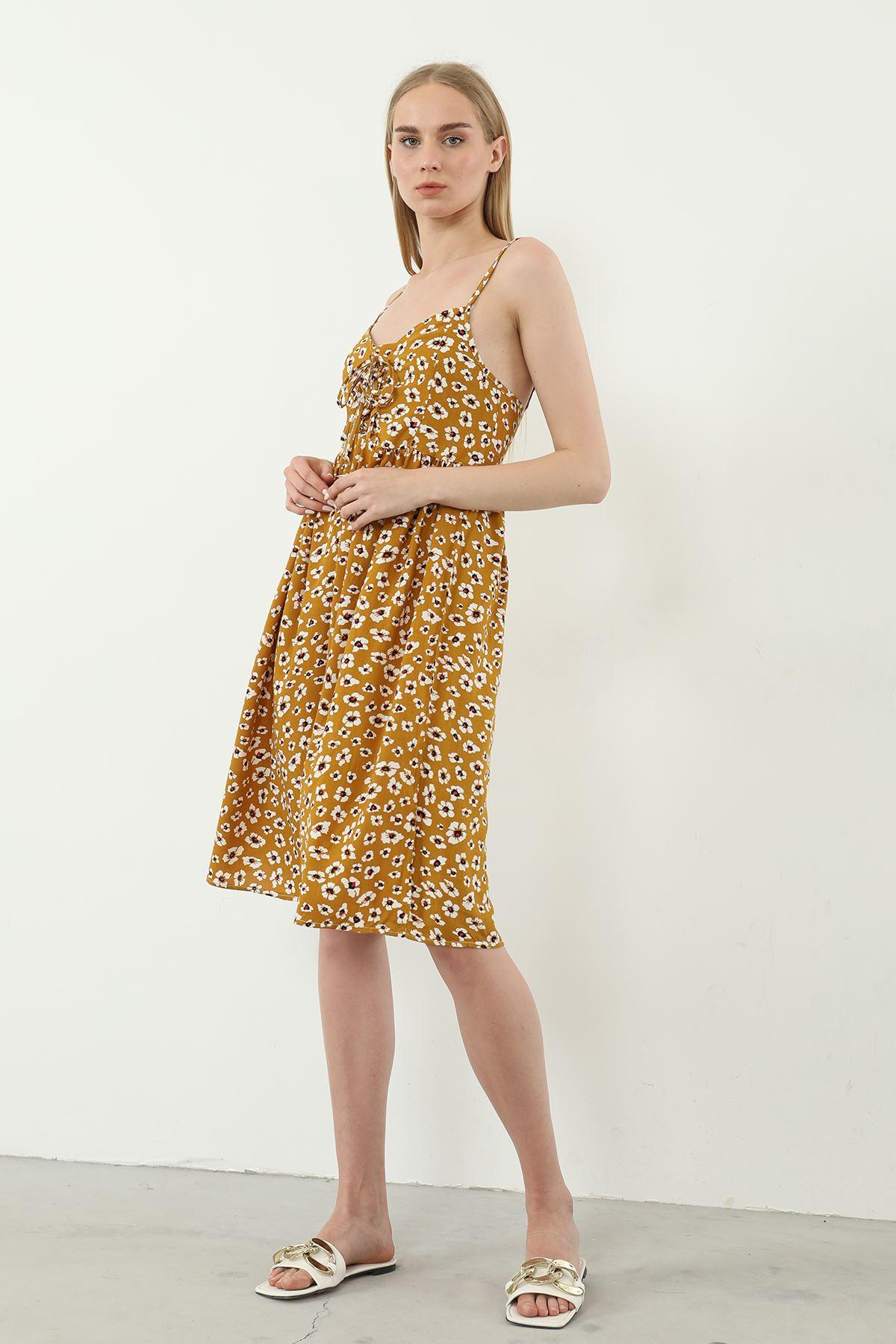 Önü Bağcıklı Elbise-Taba