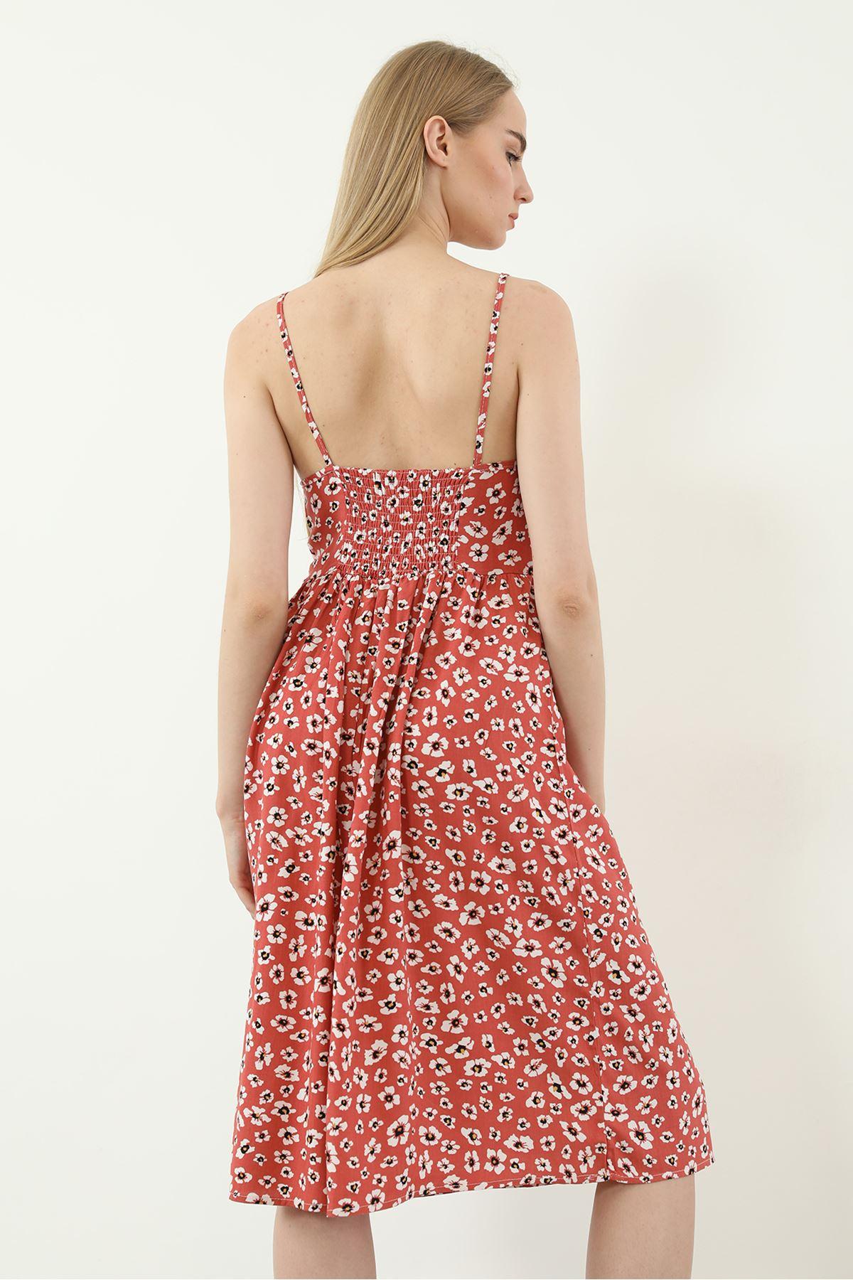 Önü Bağcıklı Elbise-Nar Çiçeği