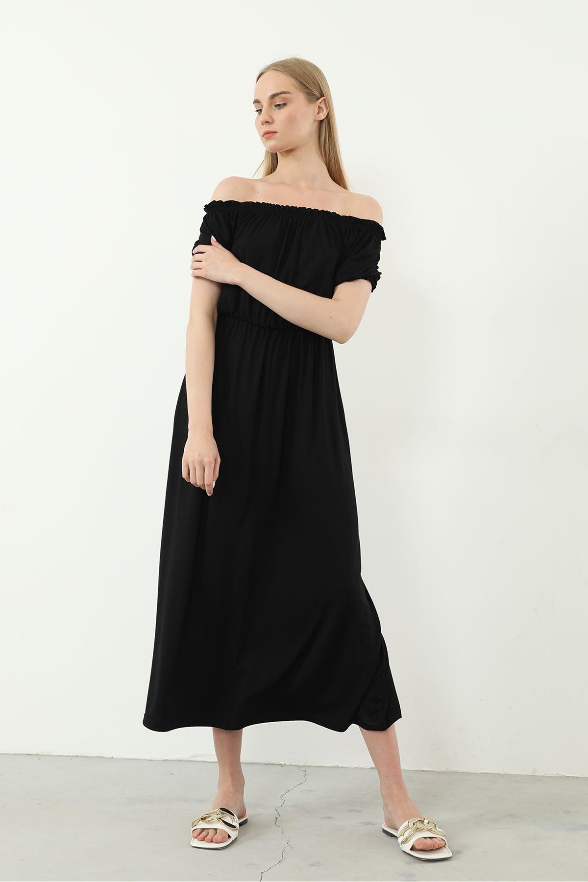 Madonna Yaka Elbise-Siyah