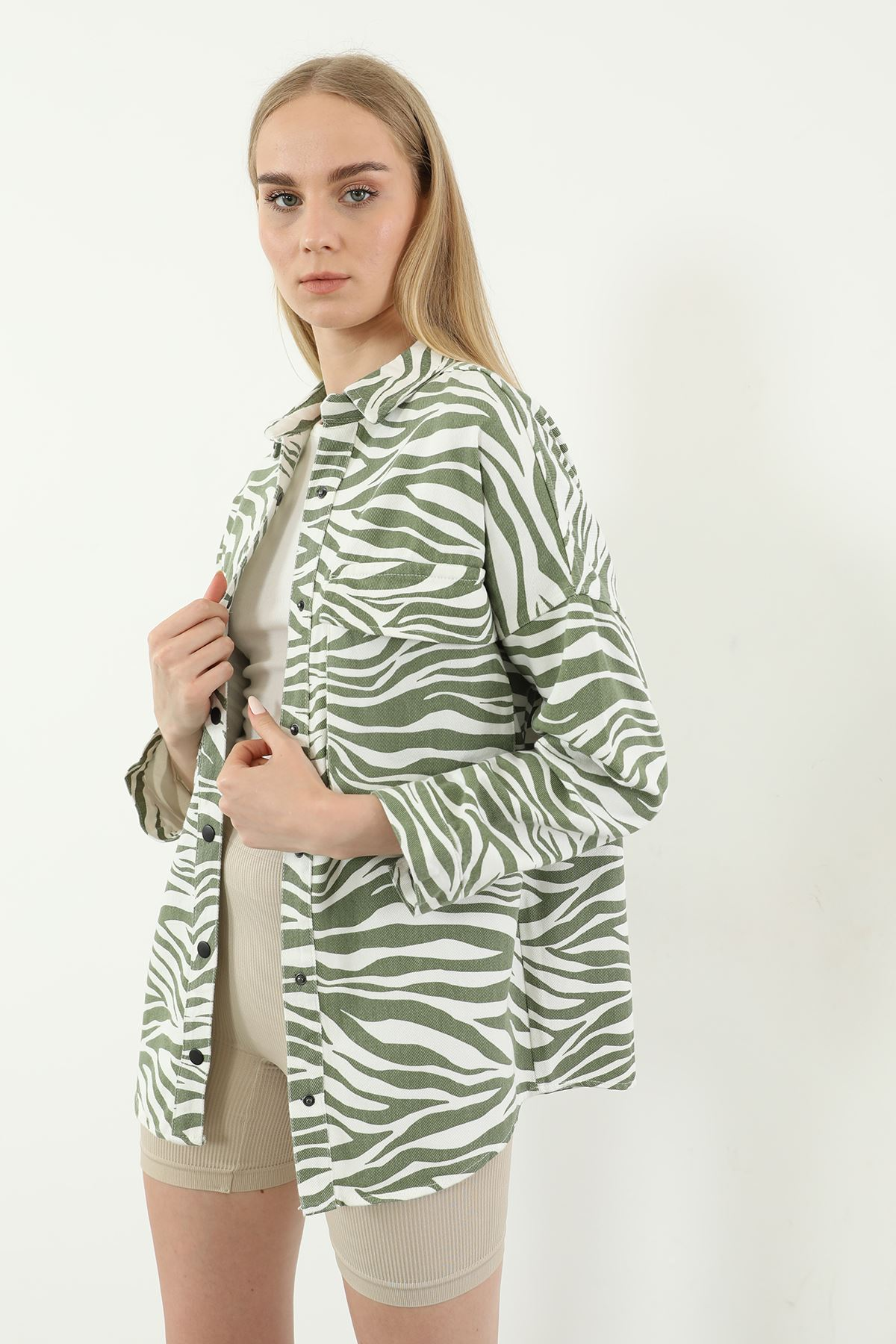 Zebra Desen Kot Ceket-Haki
