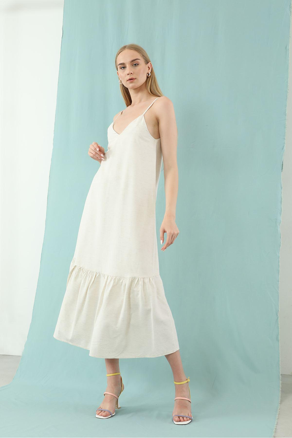 Askılı Elbise-Ekru