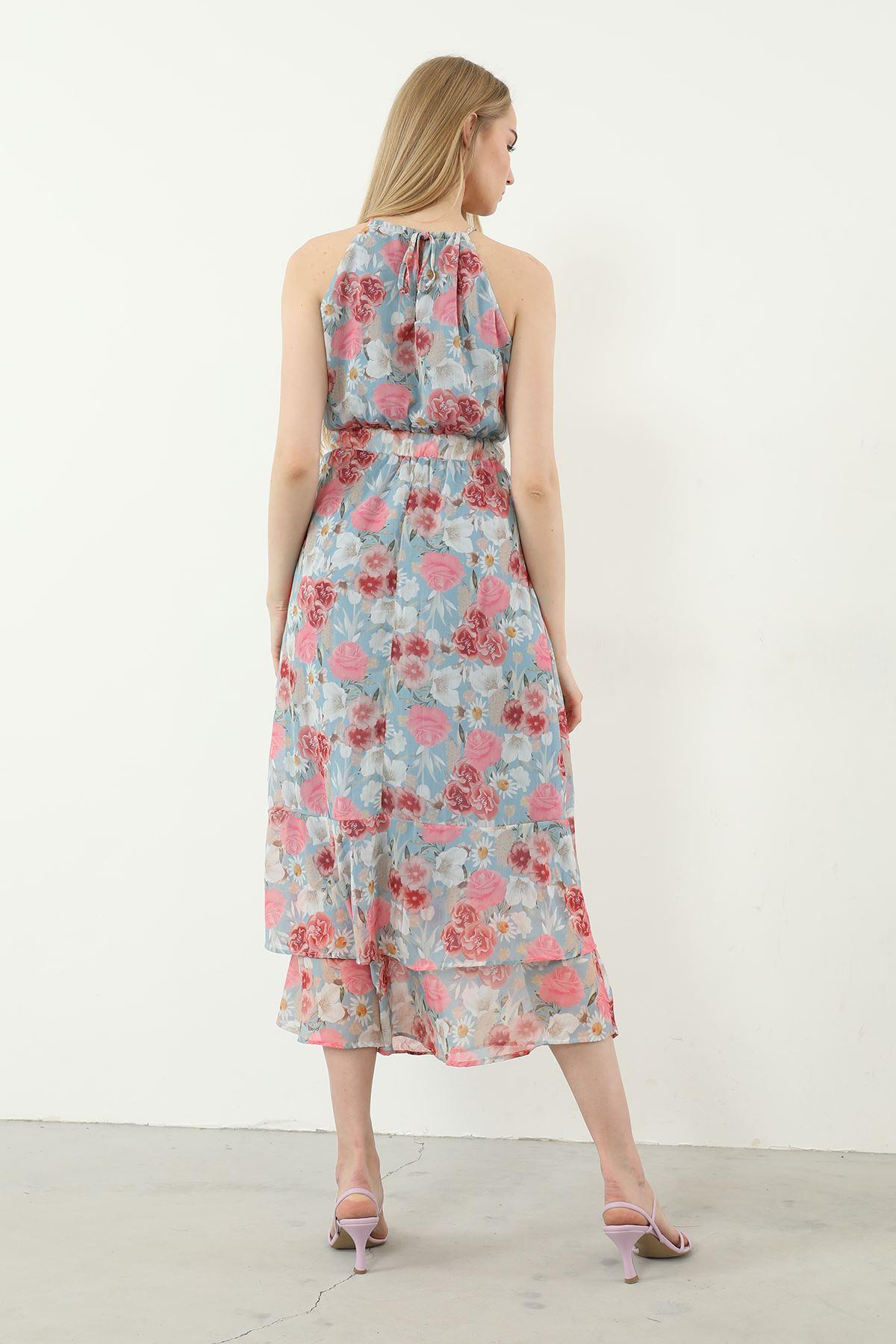 Çiçek Desen Elbise-Mavi