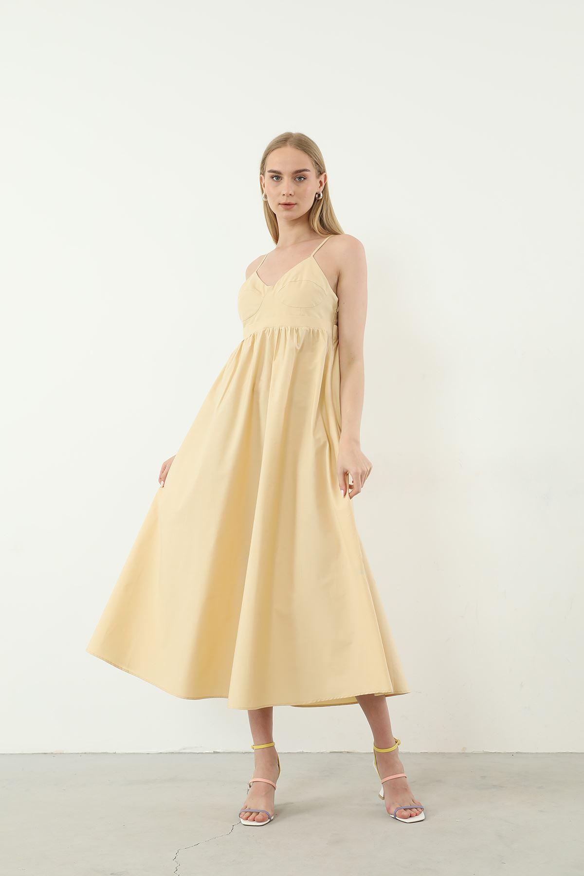 Askılı Poplin Elbise-Bej