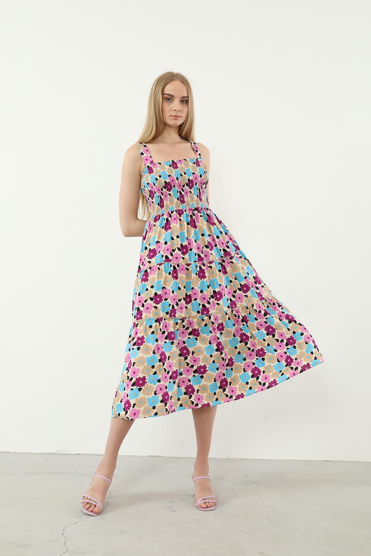 Çiçek Desen Gipeli Elbise-Mor