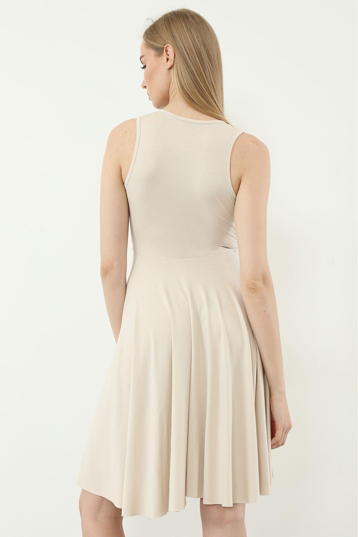 V Yaka Elbise-Taş