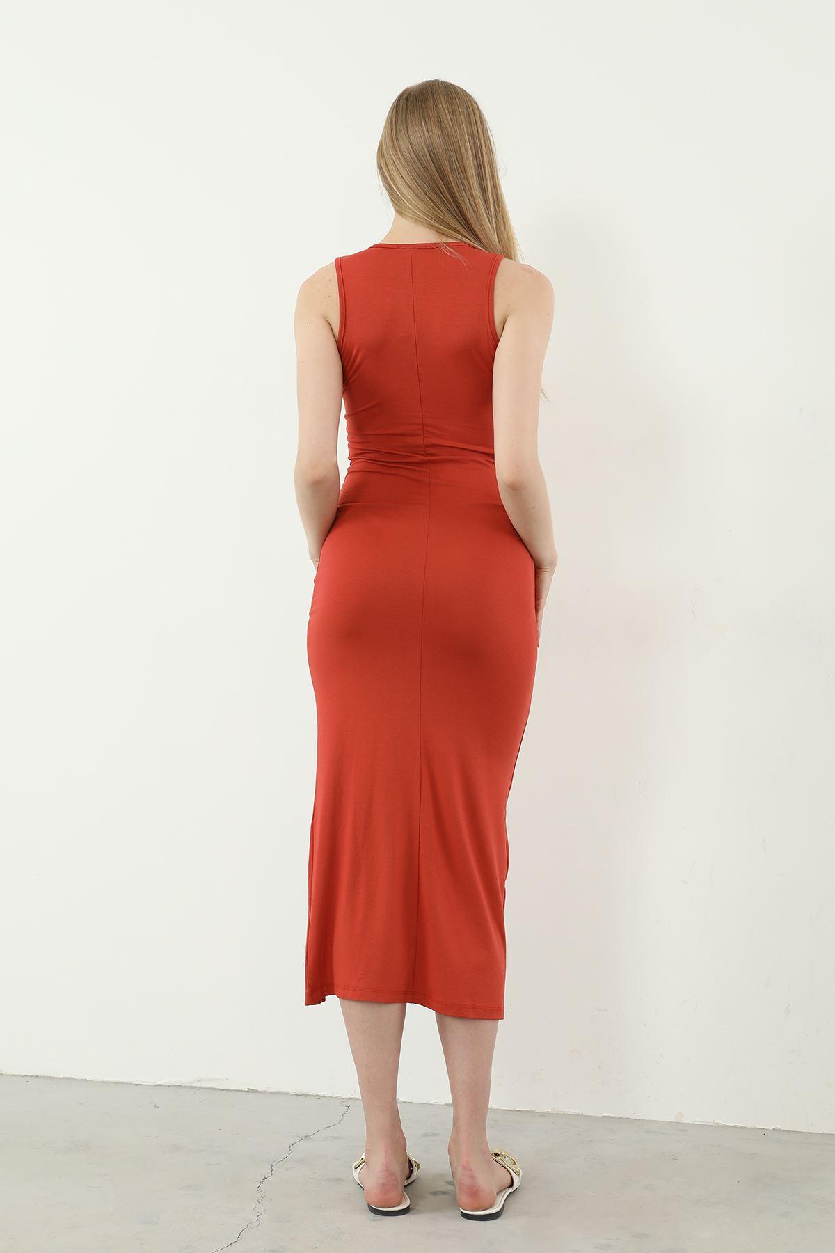 Sıfır Kol Yırtmaçlı Elbise-Kiremit