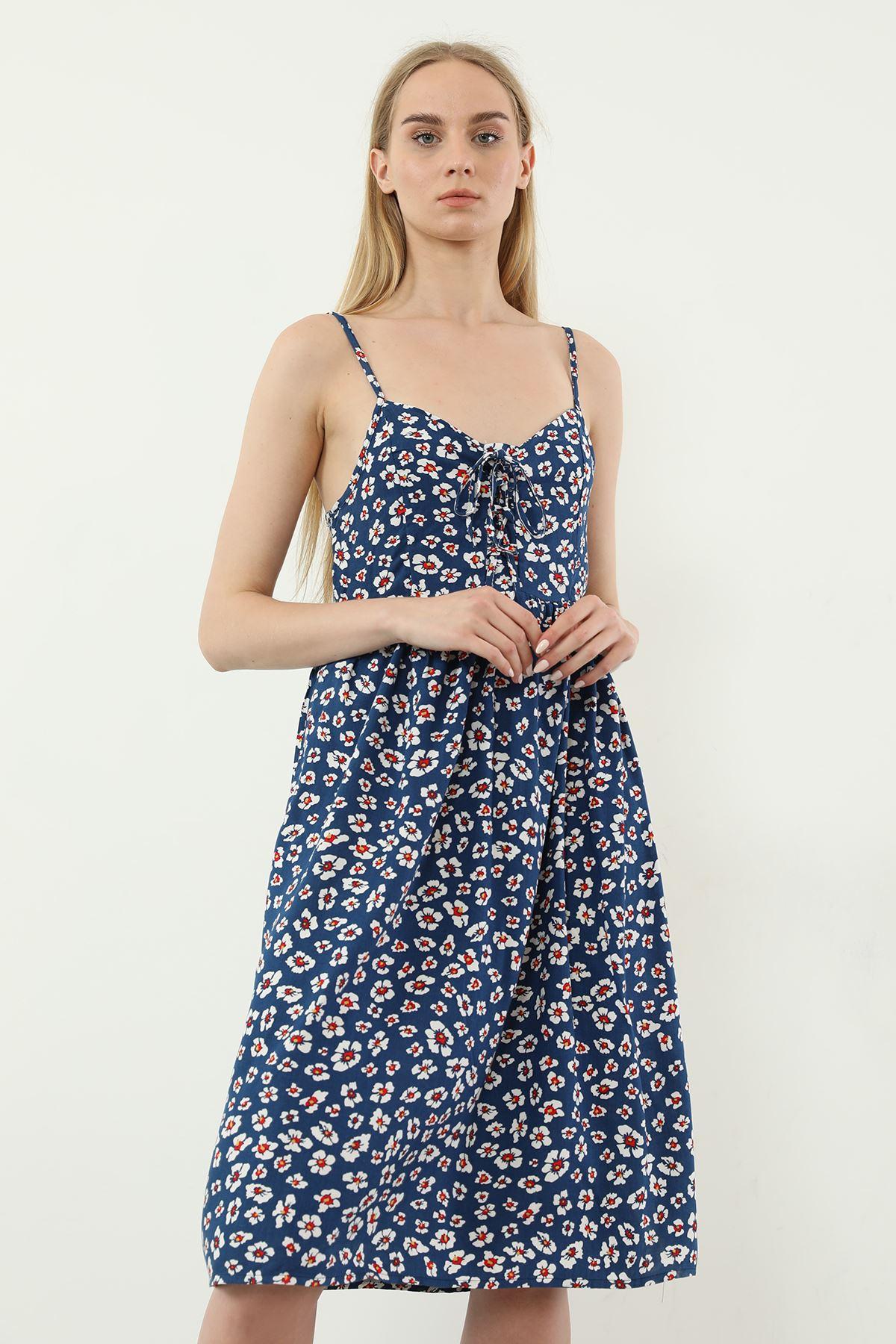 Önü Bağcıklı Elbise-Mavi