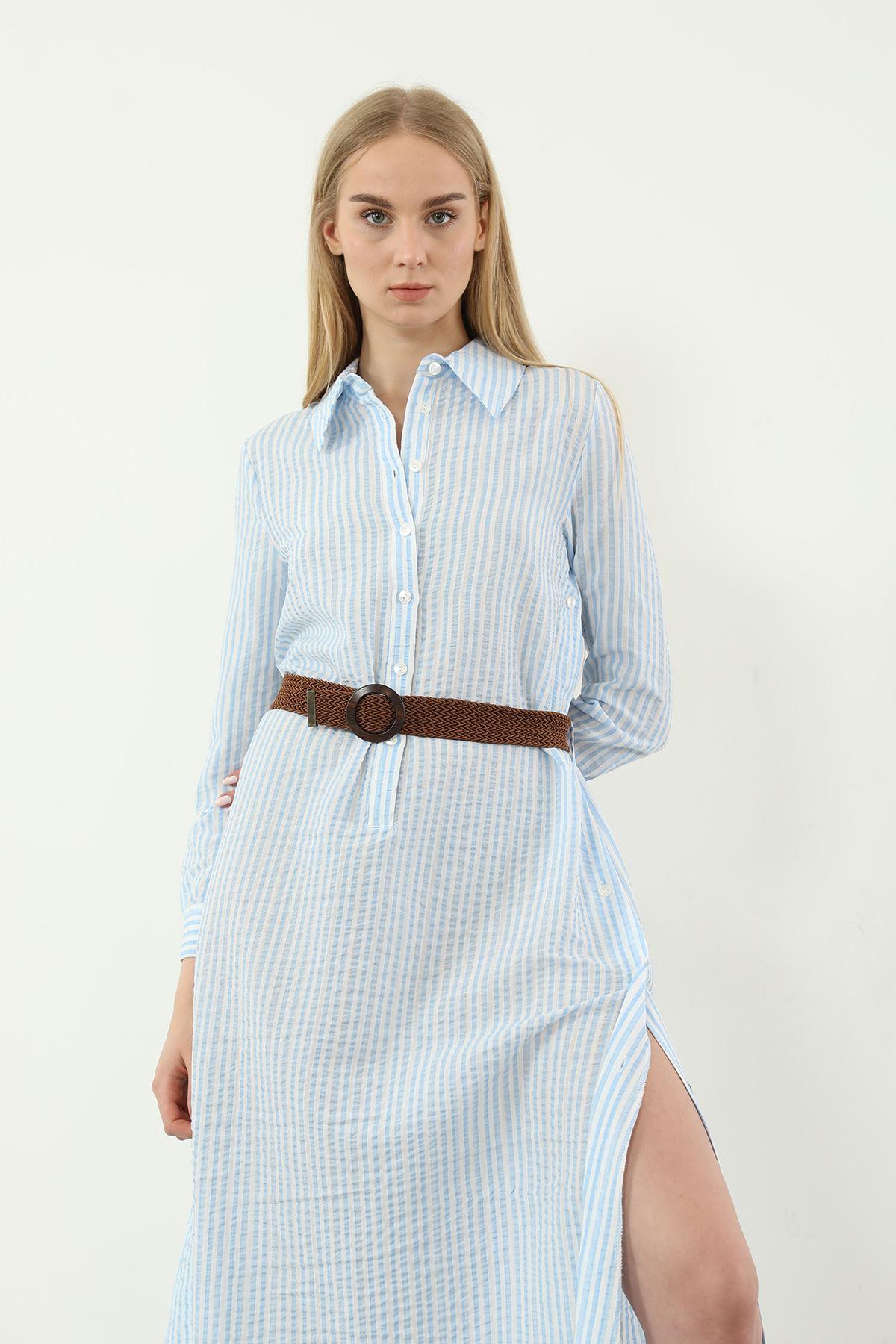 Çizgili Kemerli Elbise-Mavi