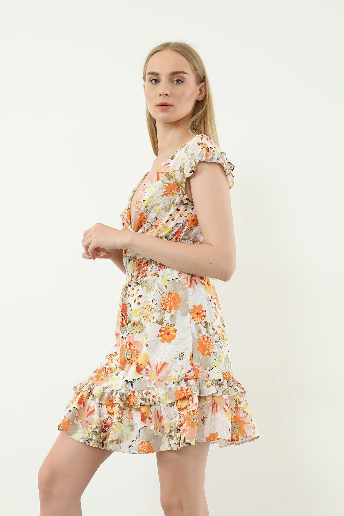 Kruvaze Yaka Desenli Elbise-Sarı