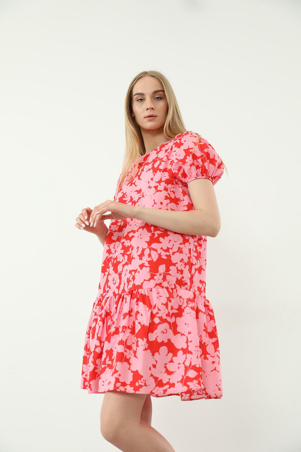 Çiçek Desenli Midi Elbise-Pembe