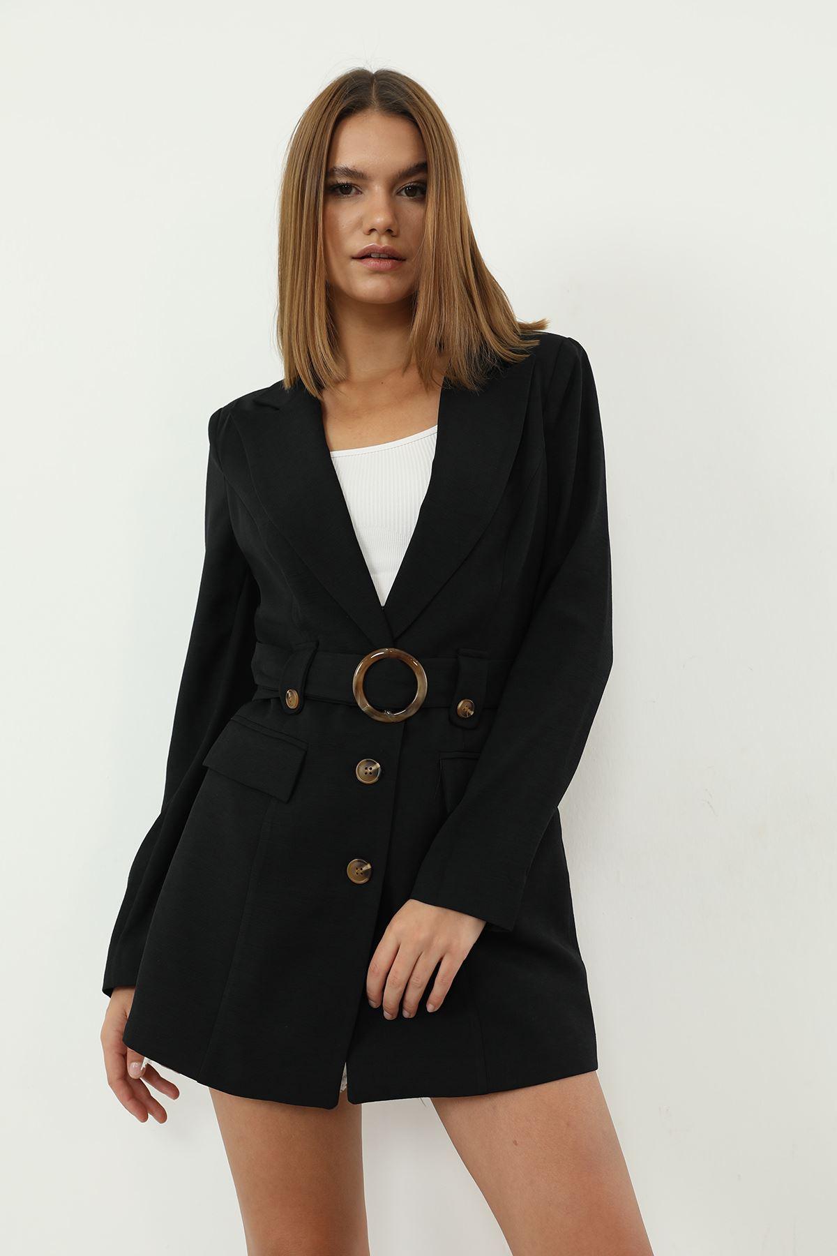 Kemerli Ceket-Siyah