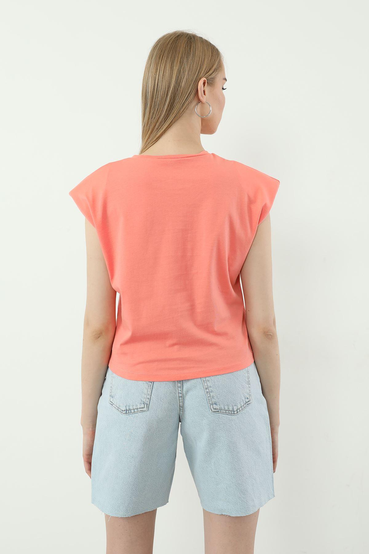 Harvard Baskılı T-shirt-Pembe