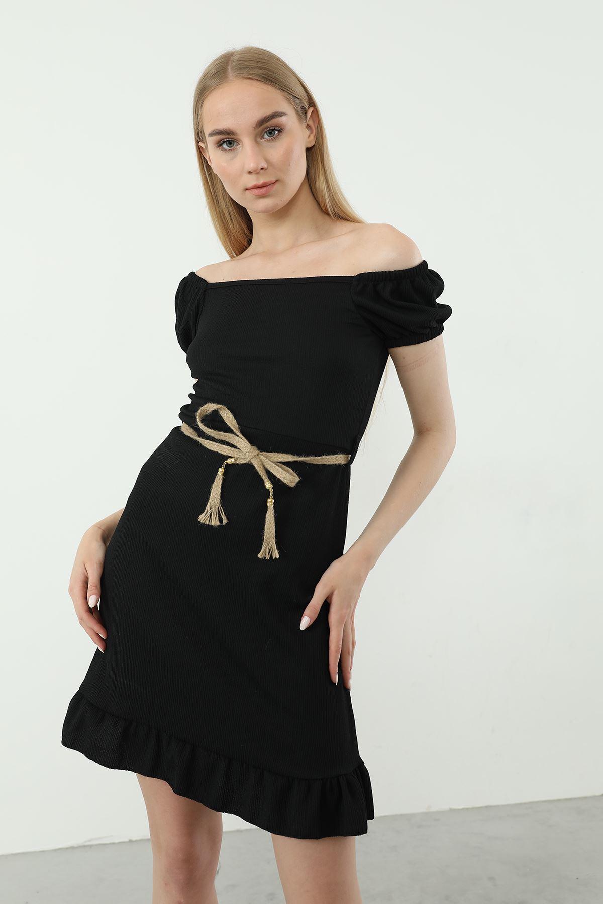 Hasır Kemerli Elbise-Siyah