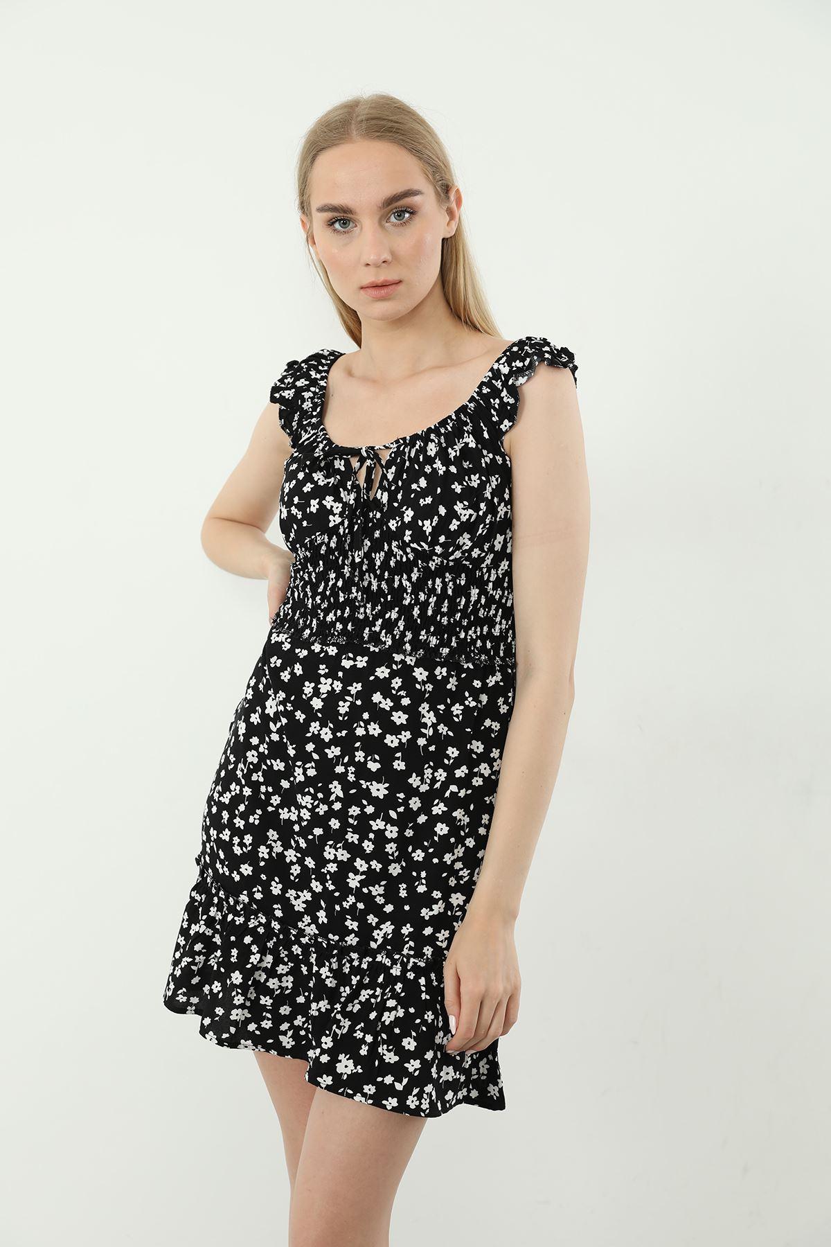 Gipeli Mini Elbise-Siyah