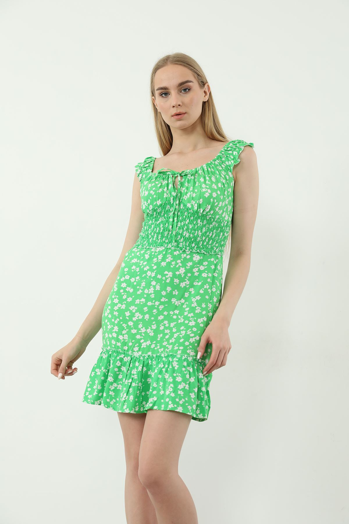 Gipeli Mini Elbise-Yeşil