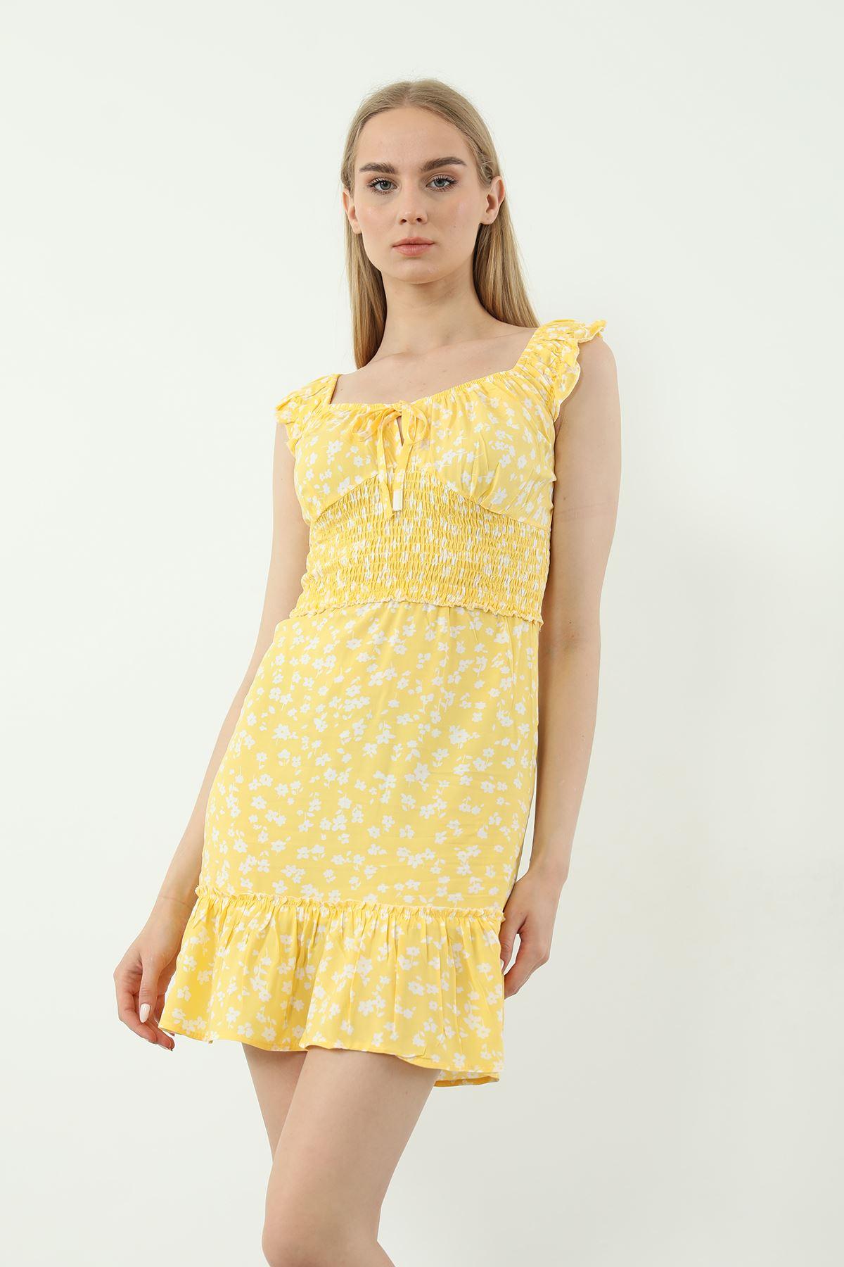 Gipeli Mini Elbise-Sarı