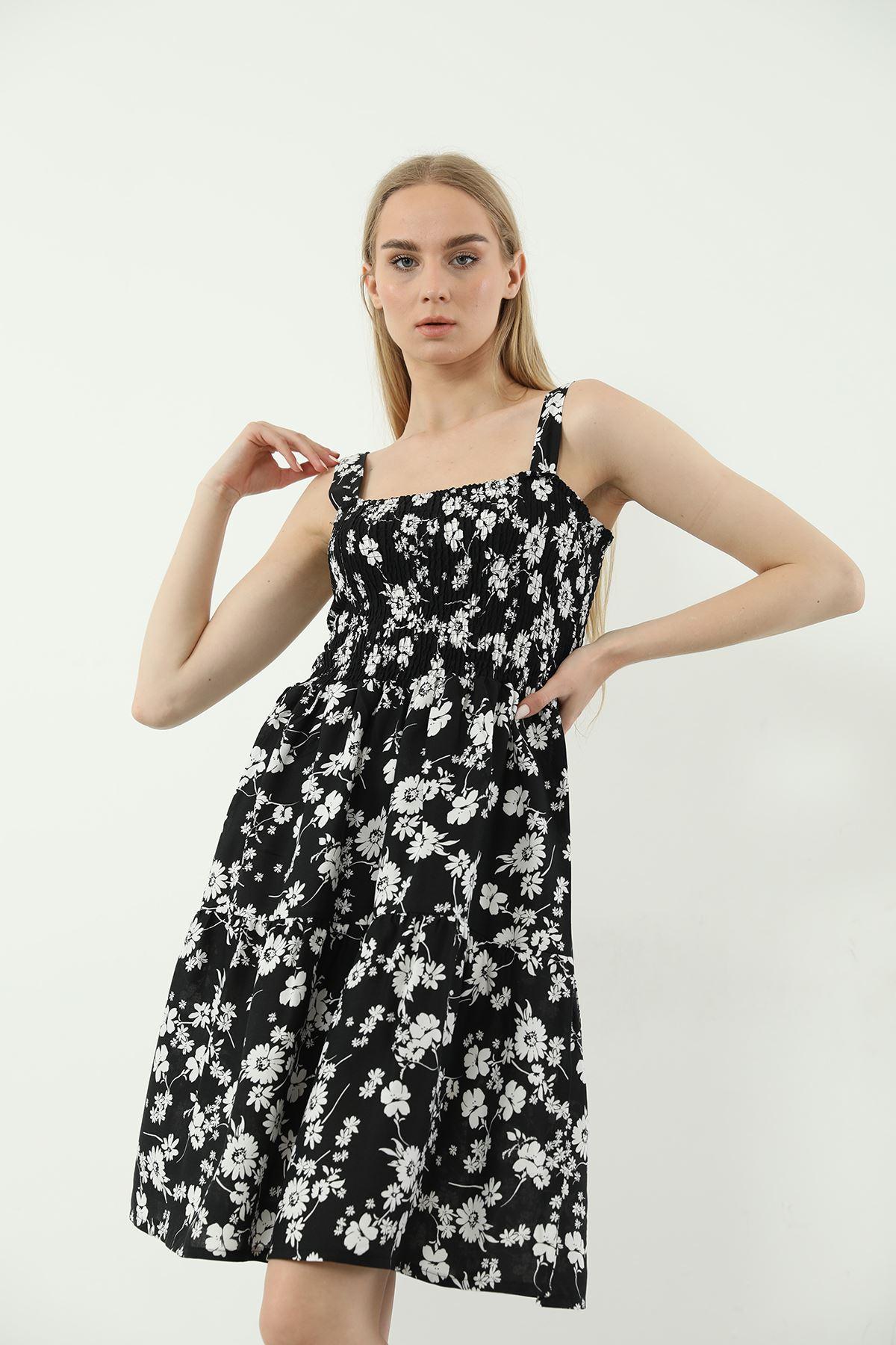 Askılı Gipeli Elbise-Siyah