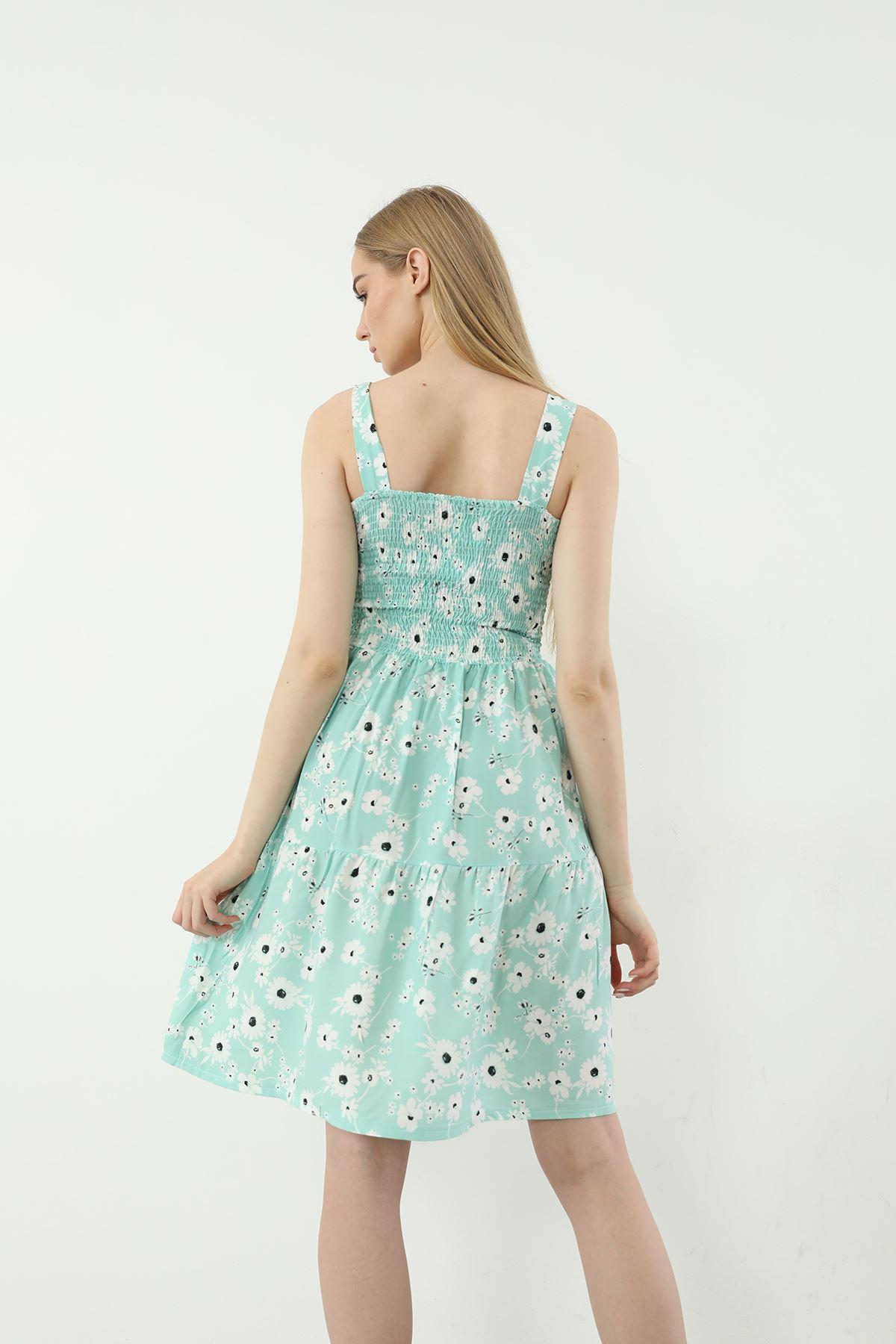 Askılı Gipeli Elbise-Mint