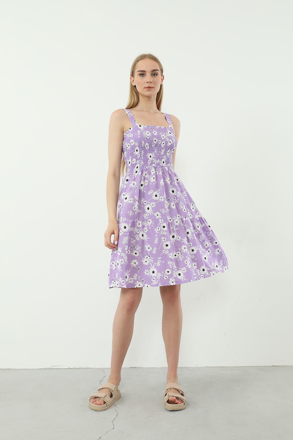 Askılı Gipeli Elbise-Lila