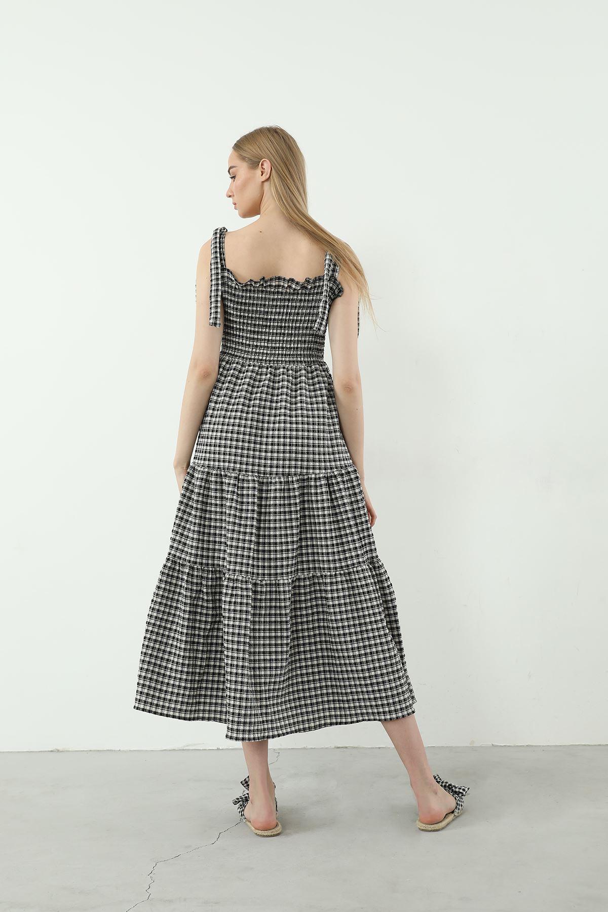 Askılı Ekose Desen Elbise-Siyah