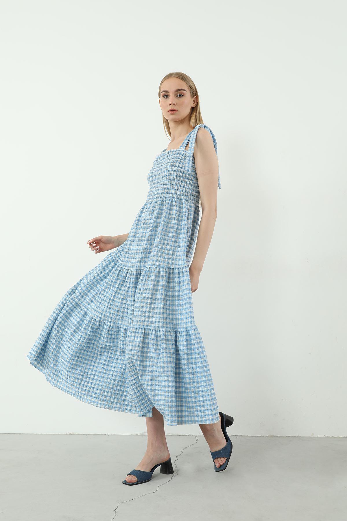 Askılı Ekose Desen Elbise-Bebemavi