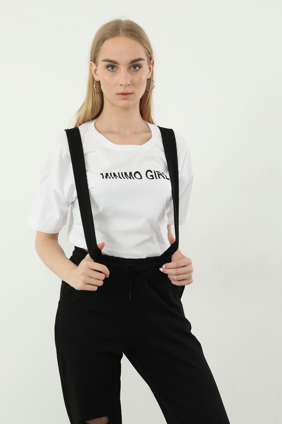 Minimo Girl Baskılı Salopet-Siyah