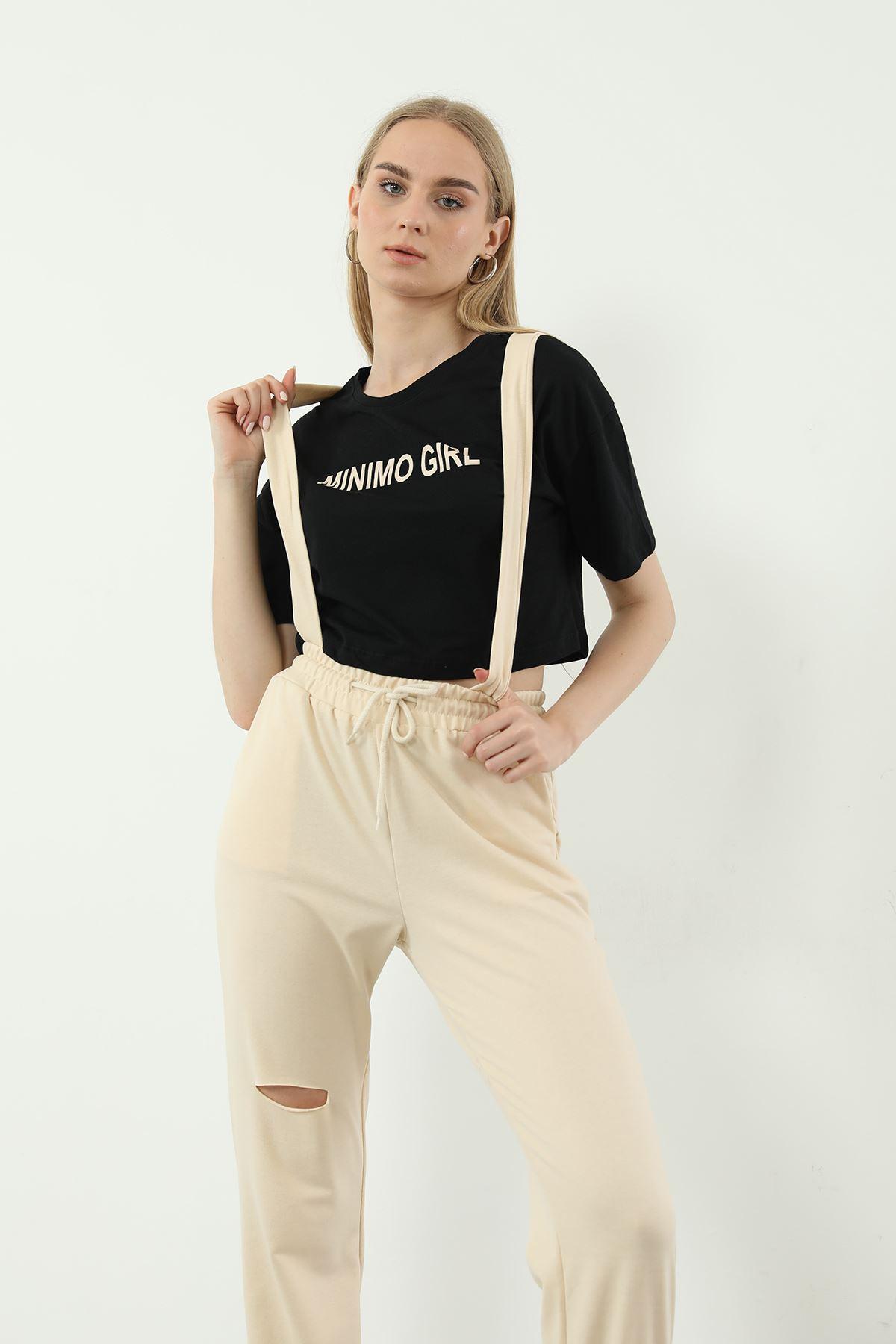 Minimo Girl Baskılı Salopet-Bej