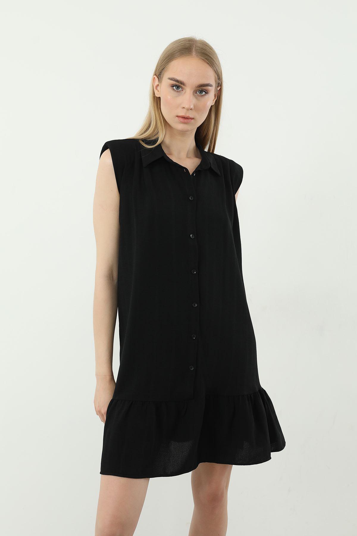 Vatkalı Sıfır Kol Tunik-Siyah