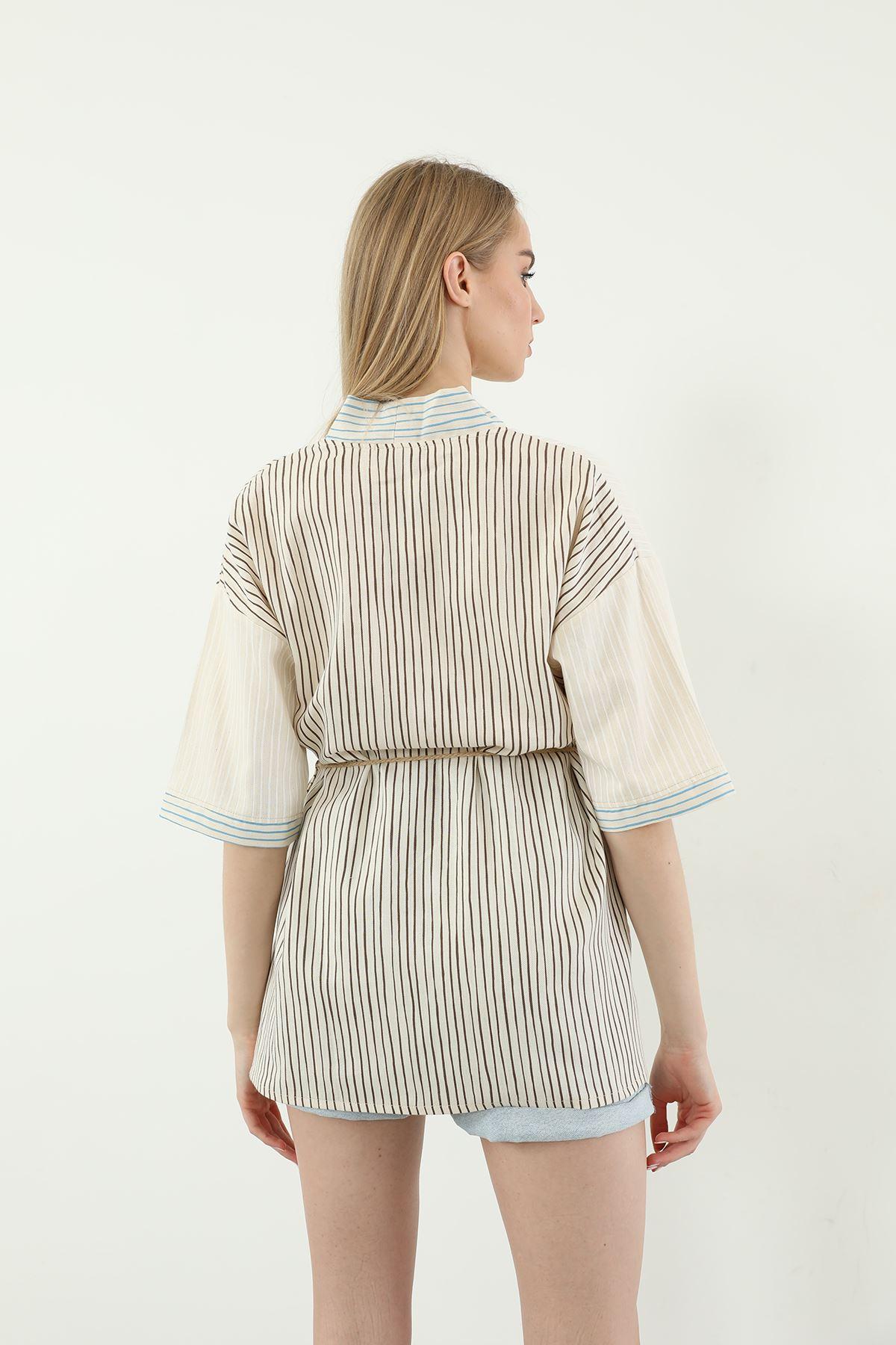 Çizgili Kimono-Bej
