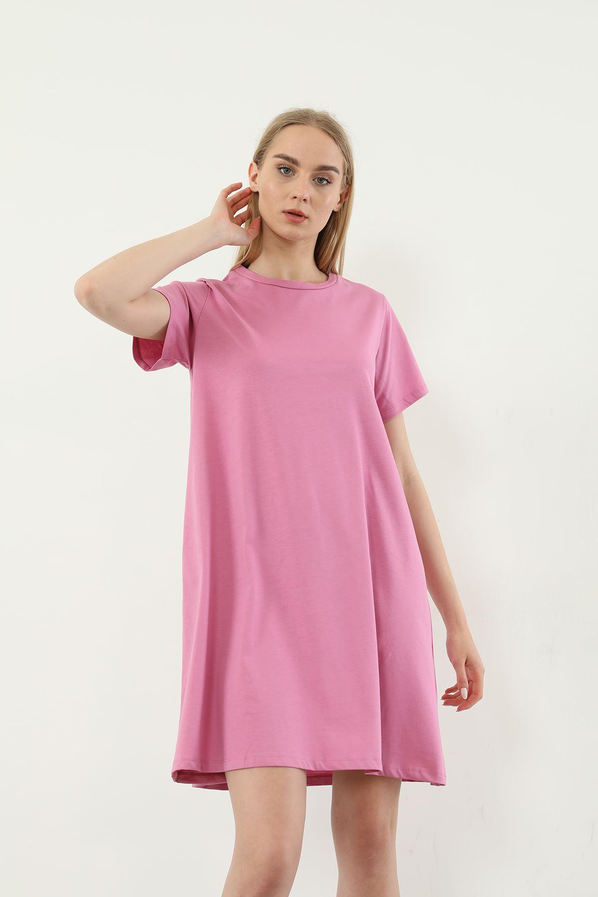 Basic Cepli Elbise-Pembe