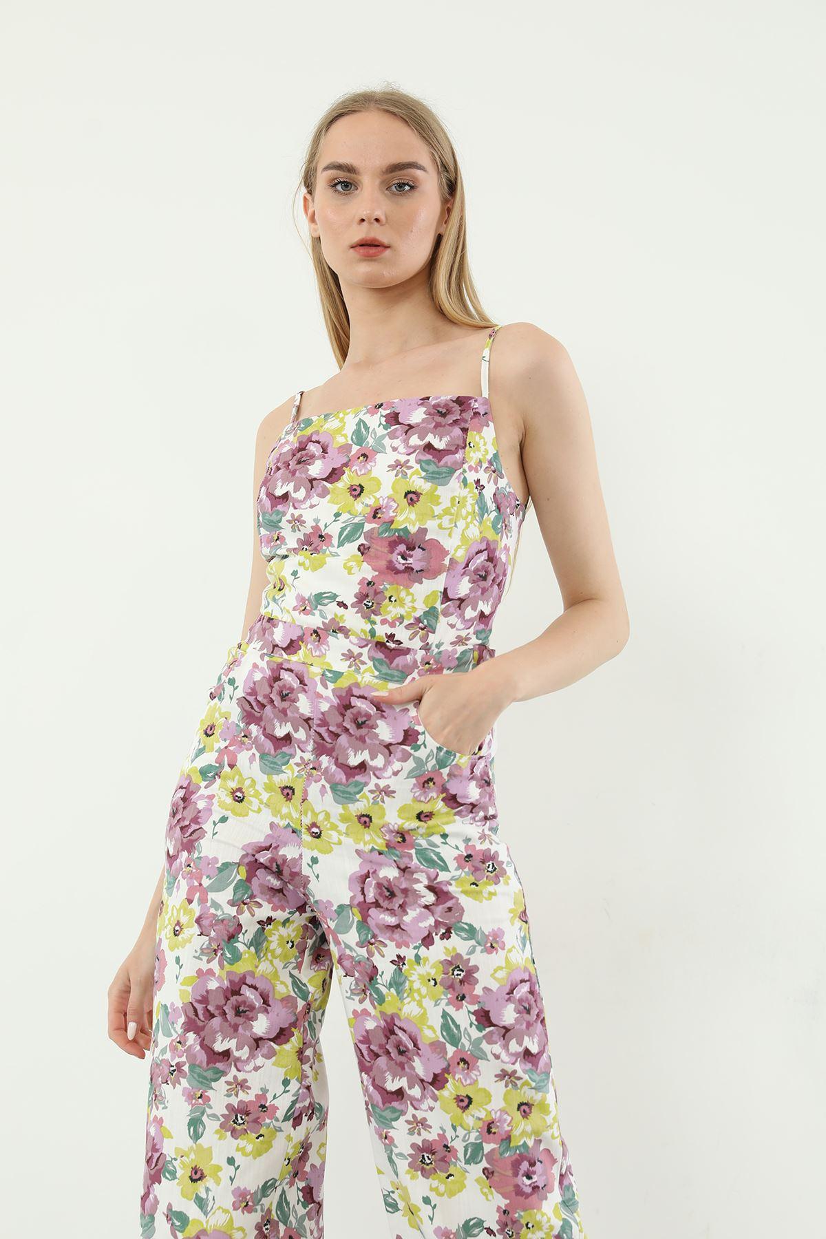 Çiçek Desen Tulum-Mor