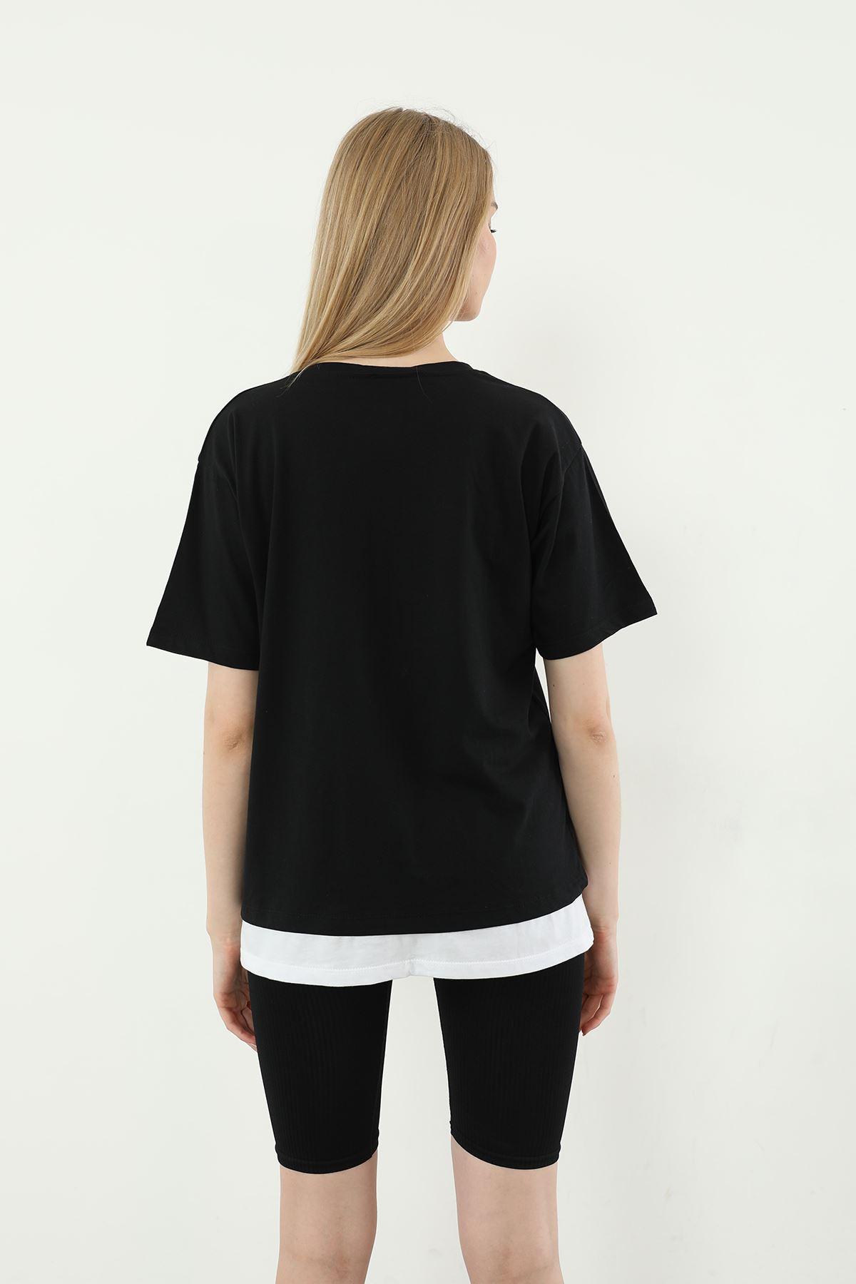 Recycle Baskılı T-shirt-Siyah