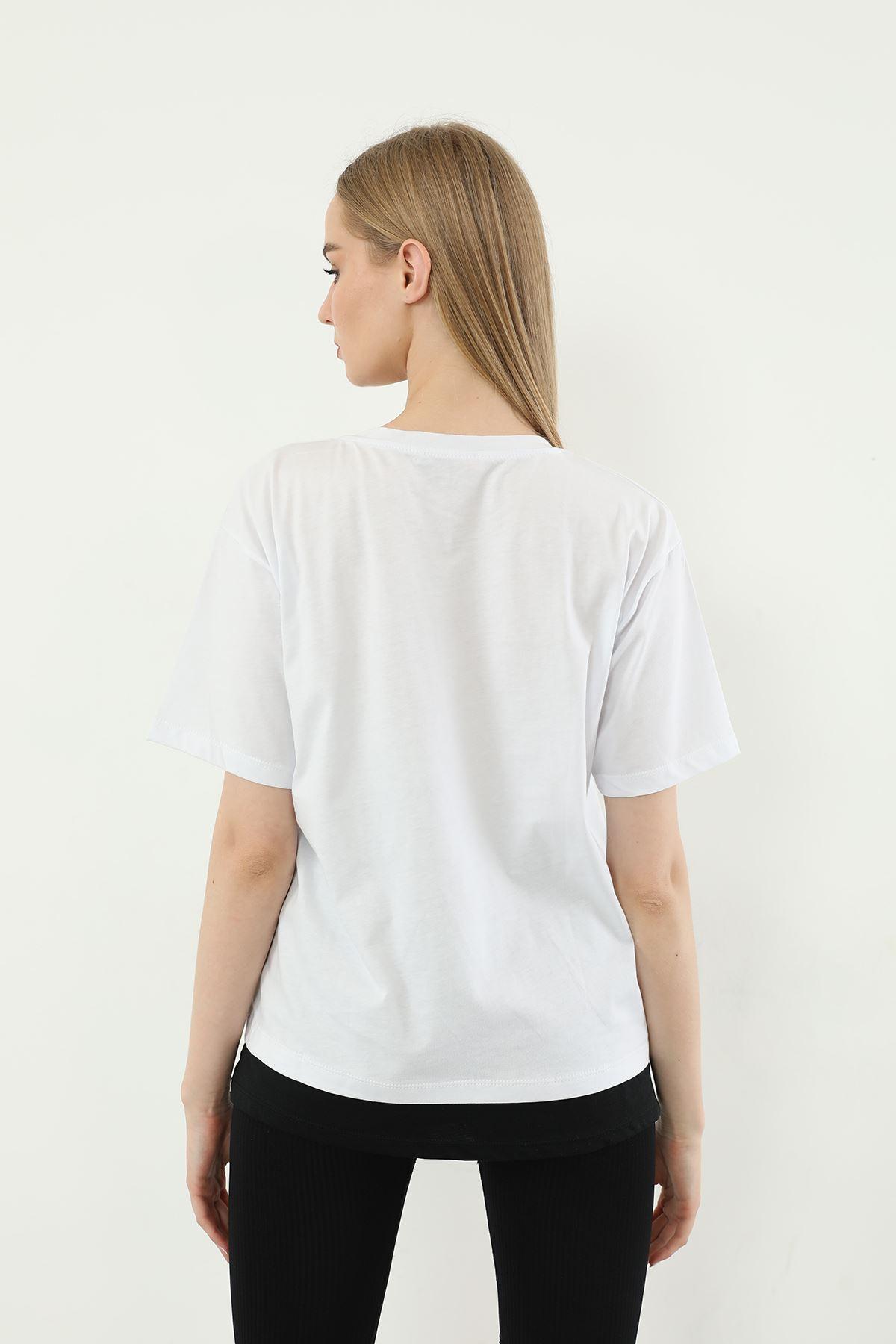 Recycle Baskılı T-shirt-Ekru