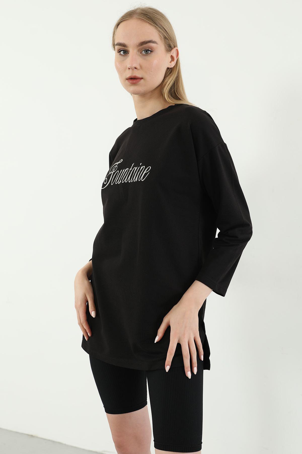 Fountine Baskılı Sweatshirt-Siyah