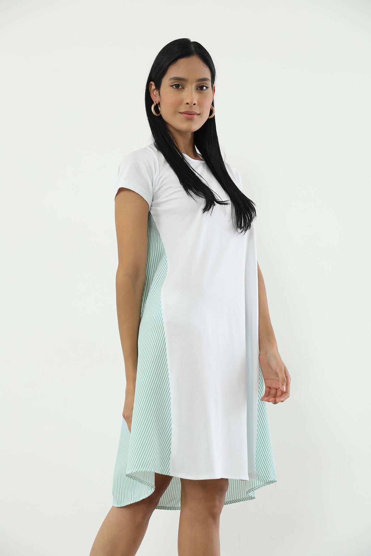 Çizgili Elbise-Mint