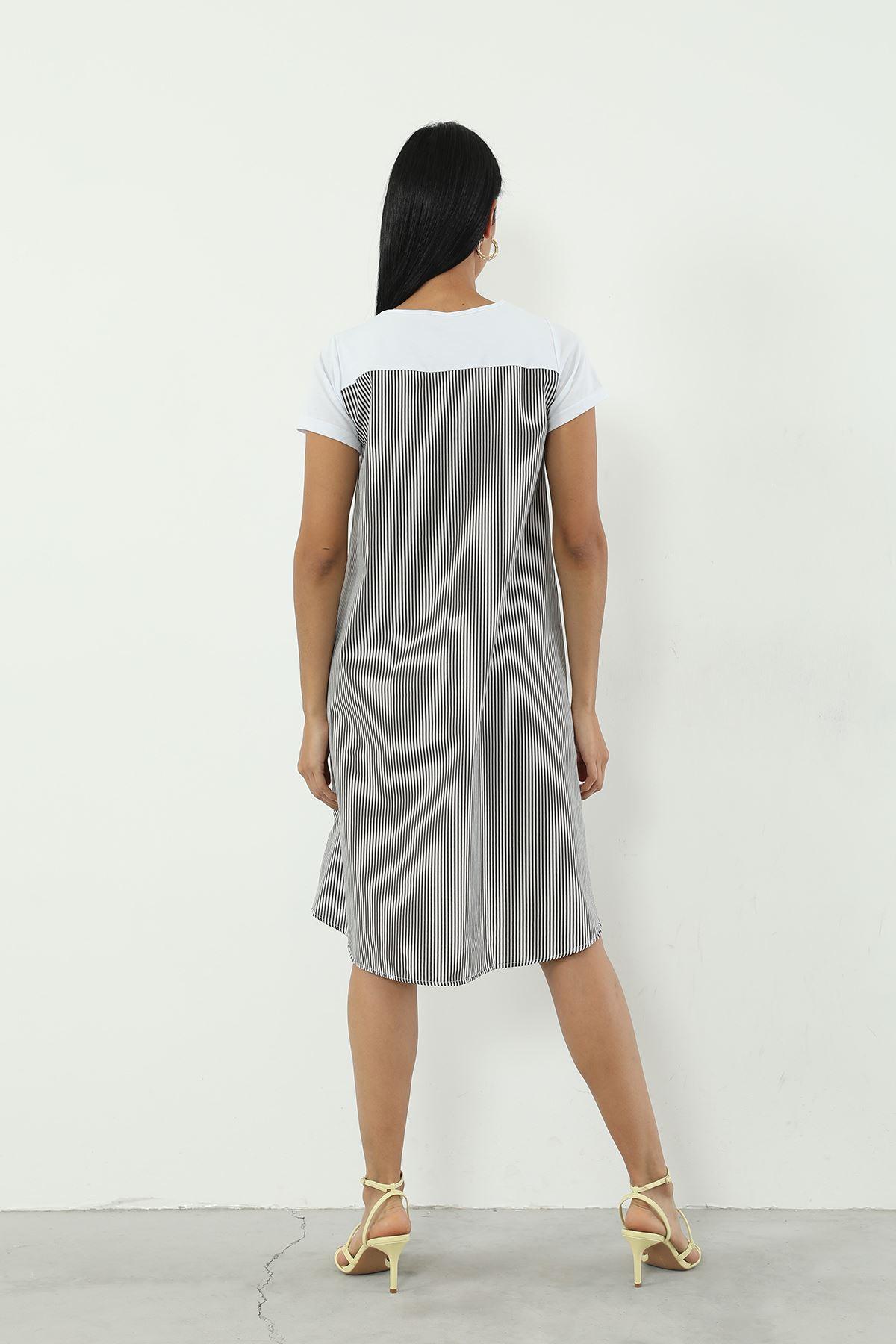 Çizgili Elbise-Siyah