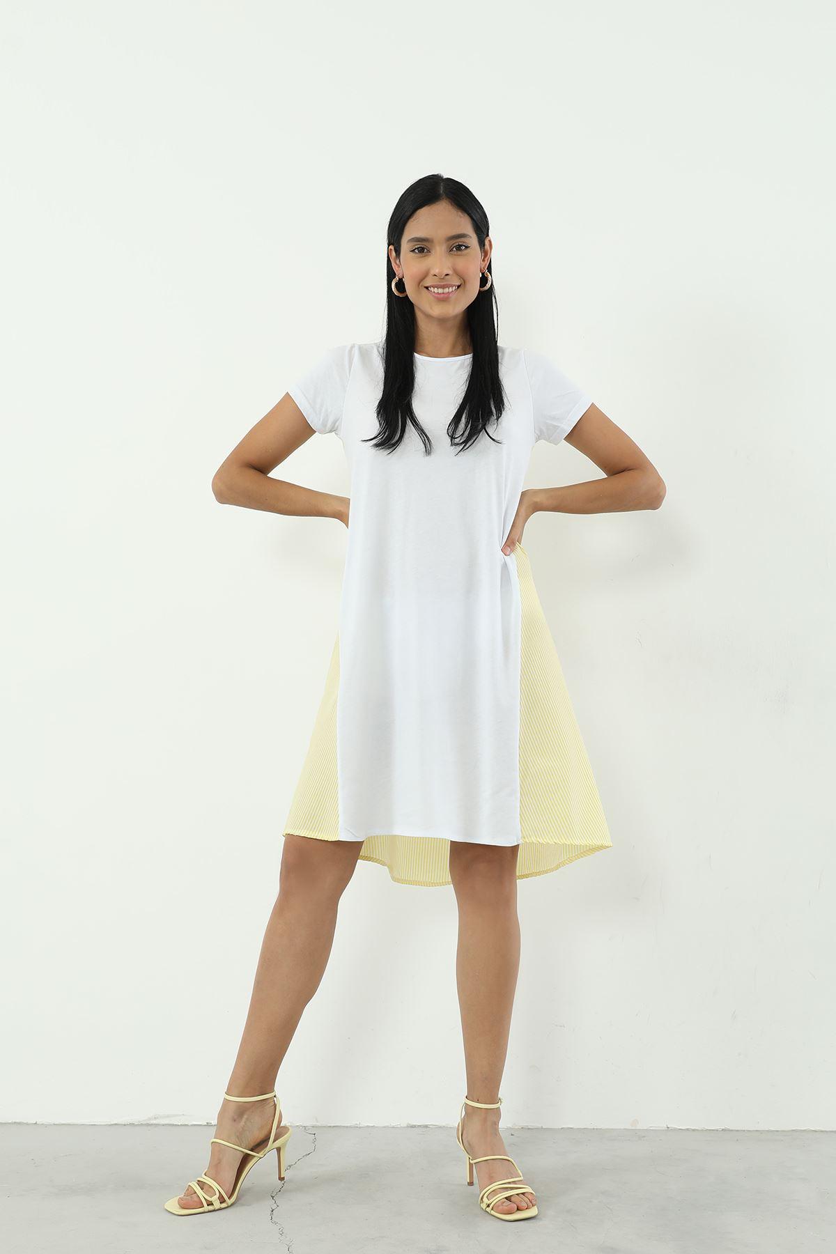 Çizgili Elbise-Sarı
