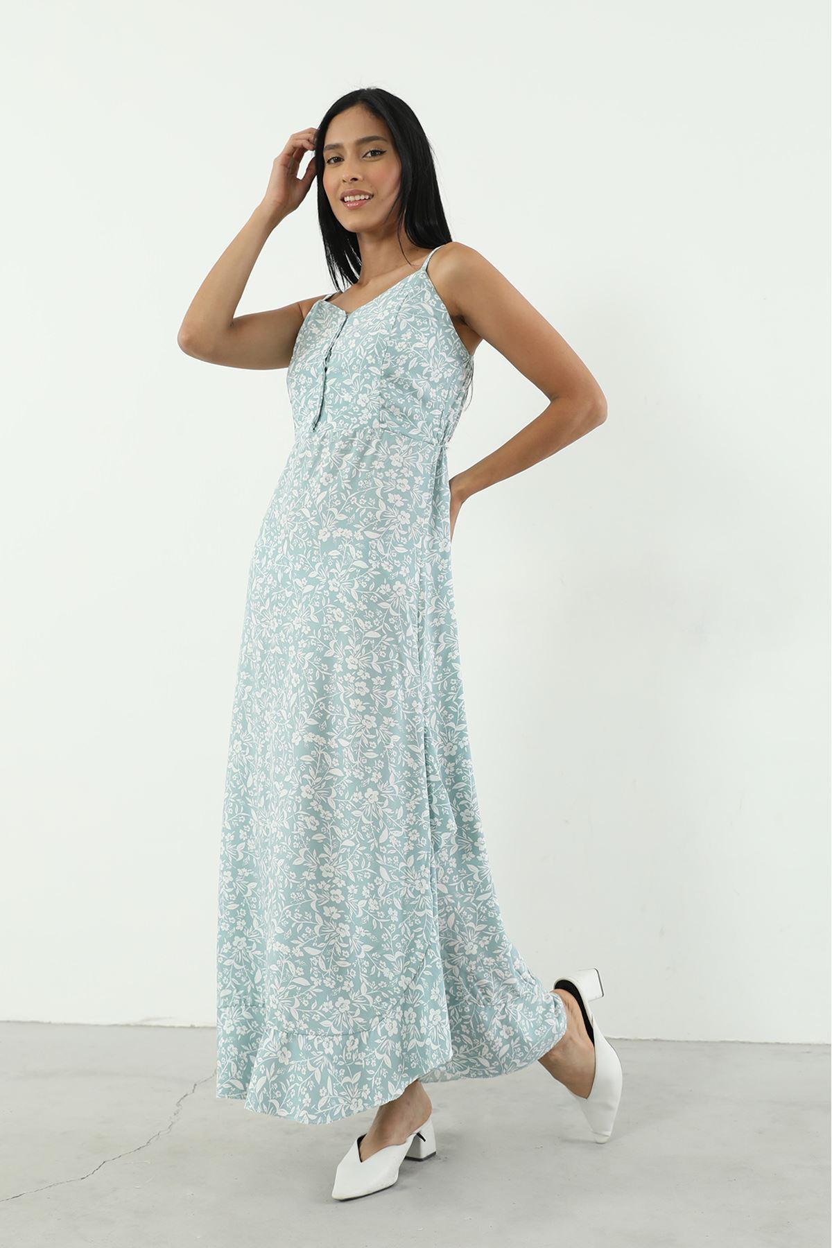Volanlı Askılı Elbise-Mint