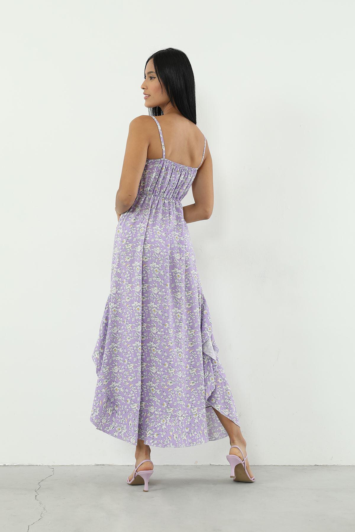 Volanlı Askılı Elbise-Lila