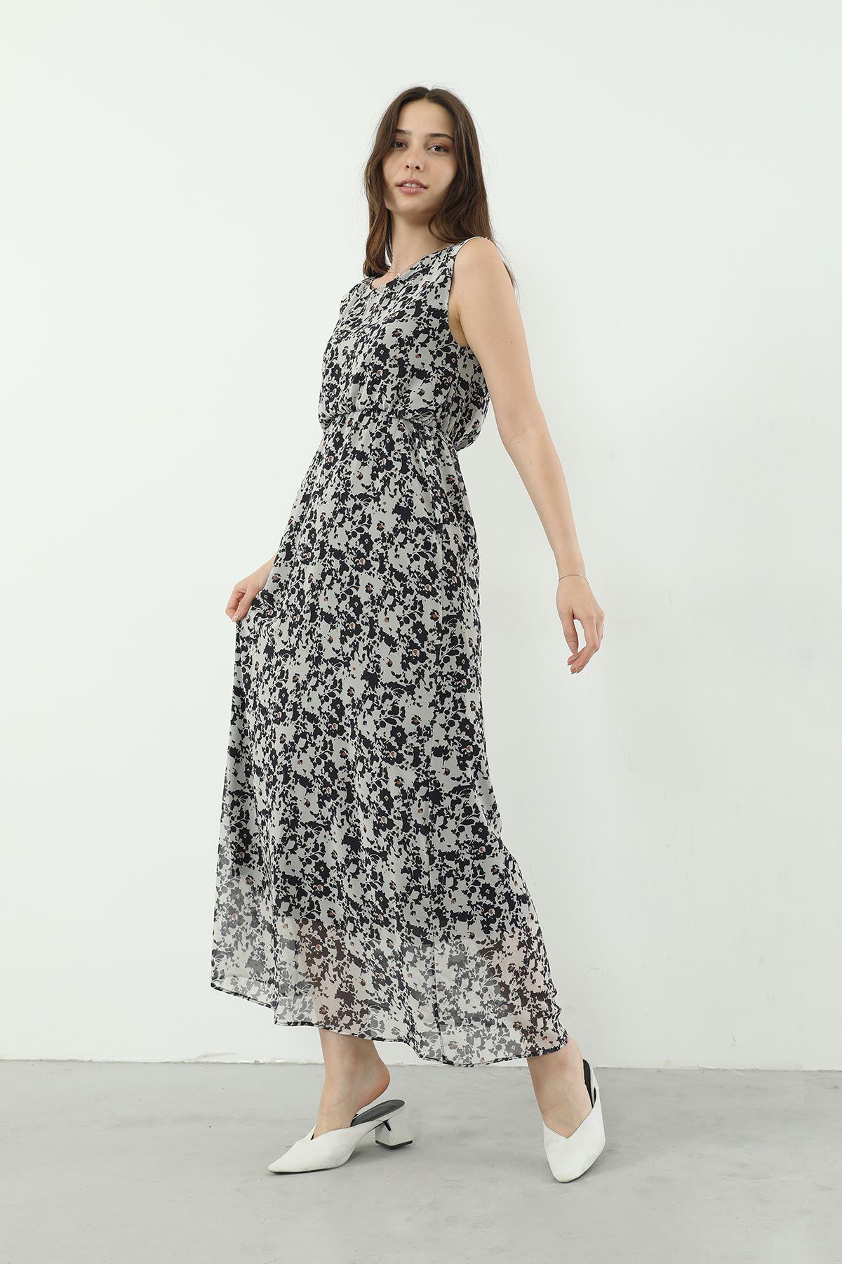 Şifon Elbise-Siyah